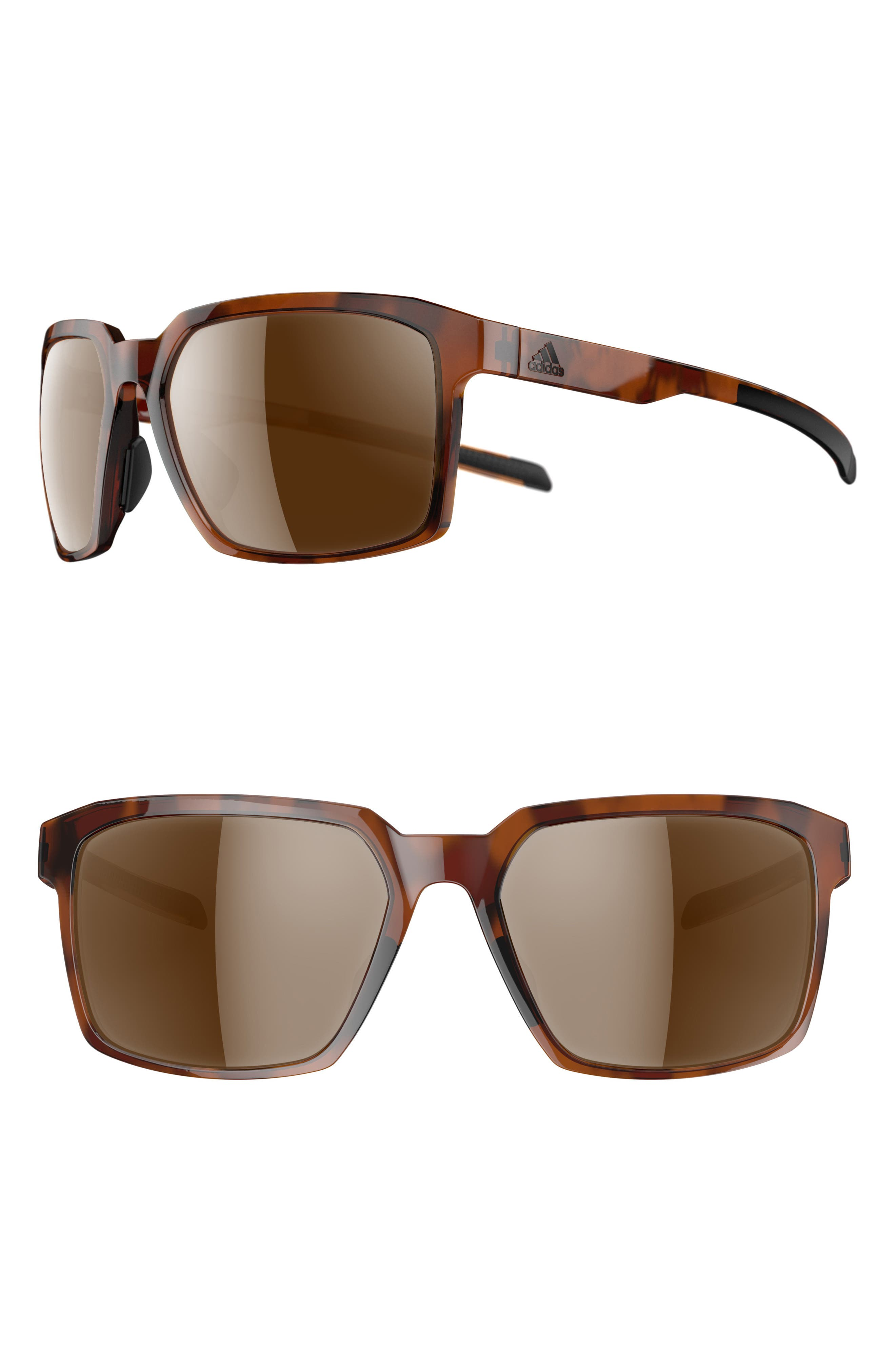 Evolver LST 60mm Sunglasses,                         Main,                         color, BROWN HAVANA/ CONTRAST SILVER
