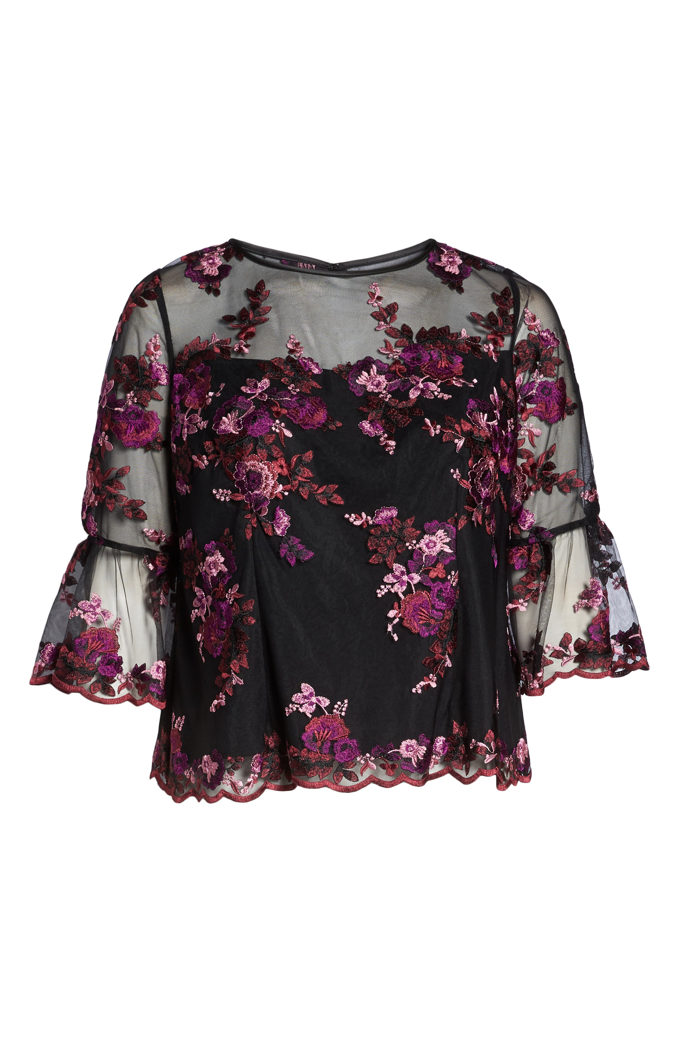 Three-Quarter Sleeve Embroidered Top,                             Alternate thumbnail 7, color,                             BLACK MULTI
