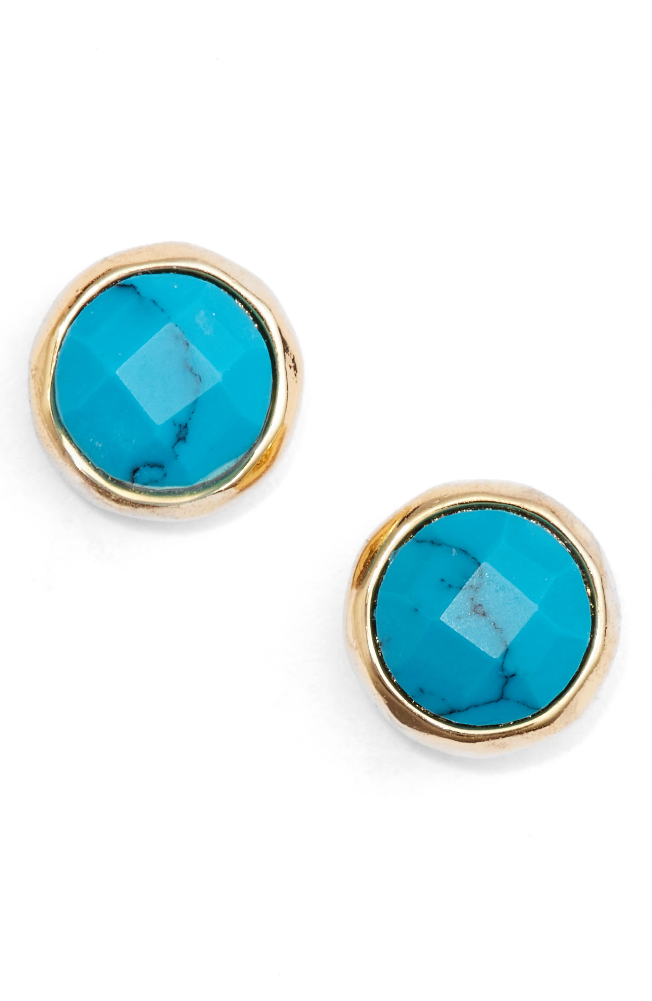 Healing Studs Earrings,                         Main,                         color, TURQUOISE/ GOLD