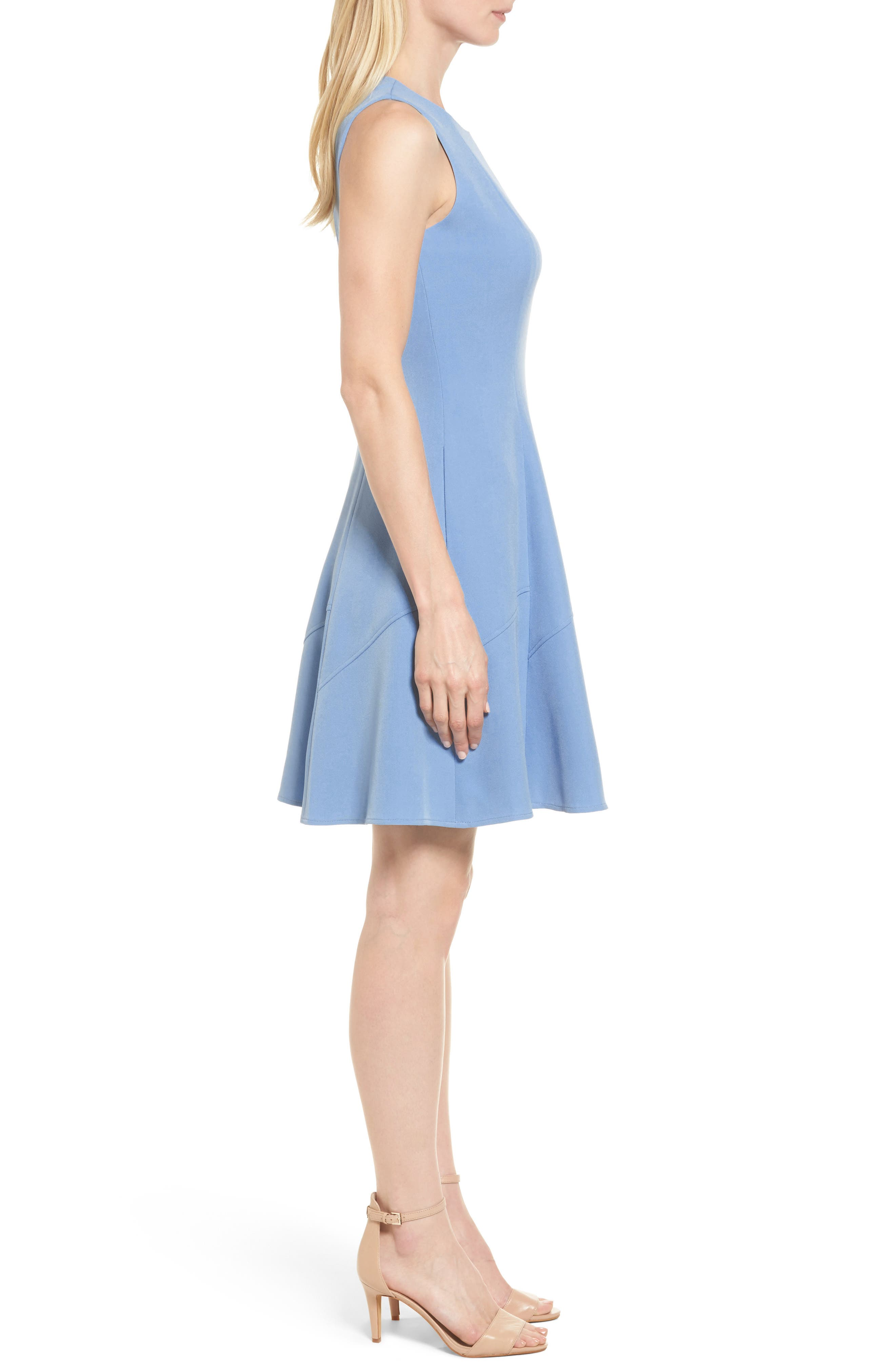 Fit & Flare Dress,                             Alternate thumbnail 3, color,                             430