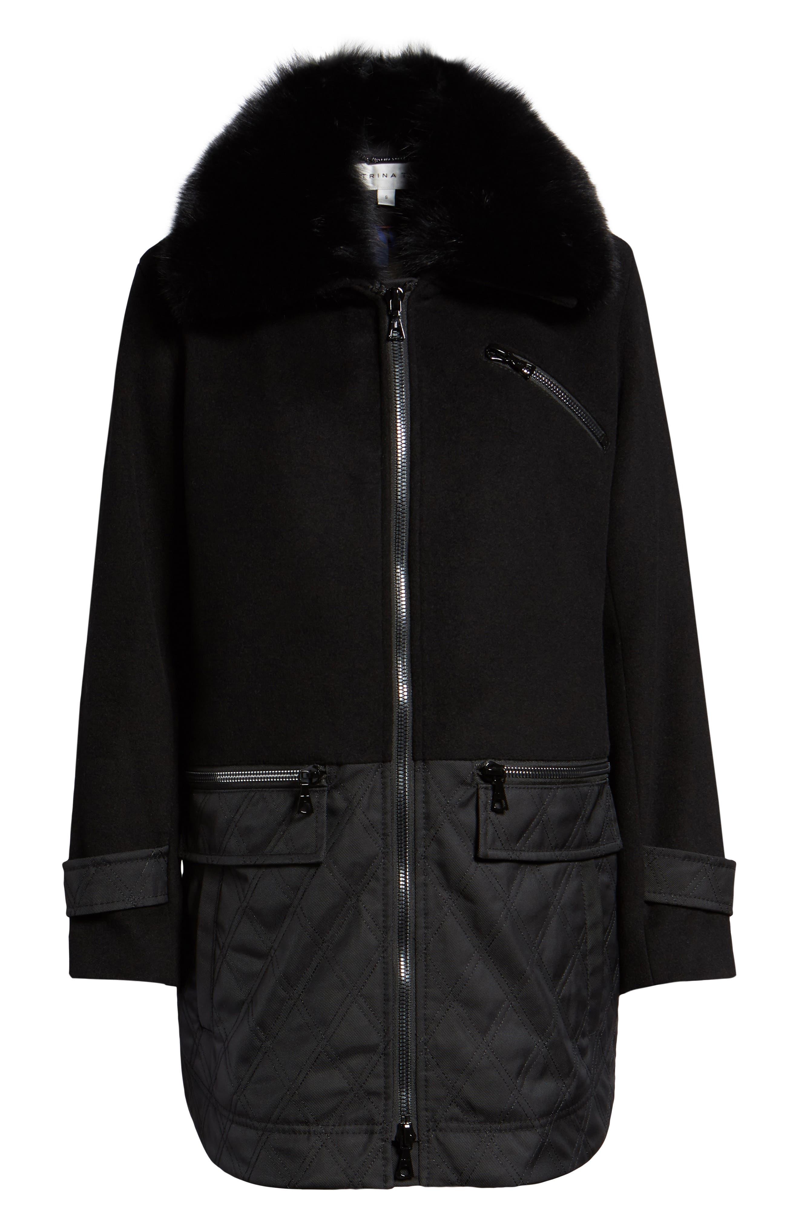 Genuine Fox Fur Trim Mixed Media Coat,                             Alternate thumbnail 6, color,                             BLACK