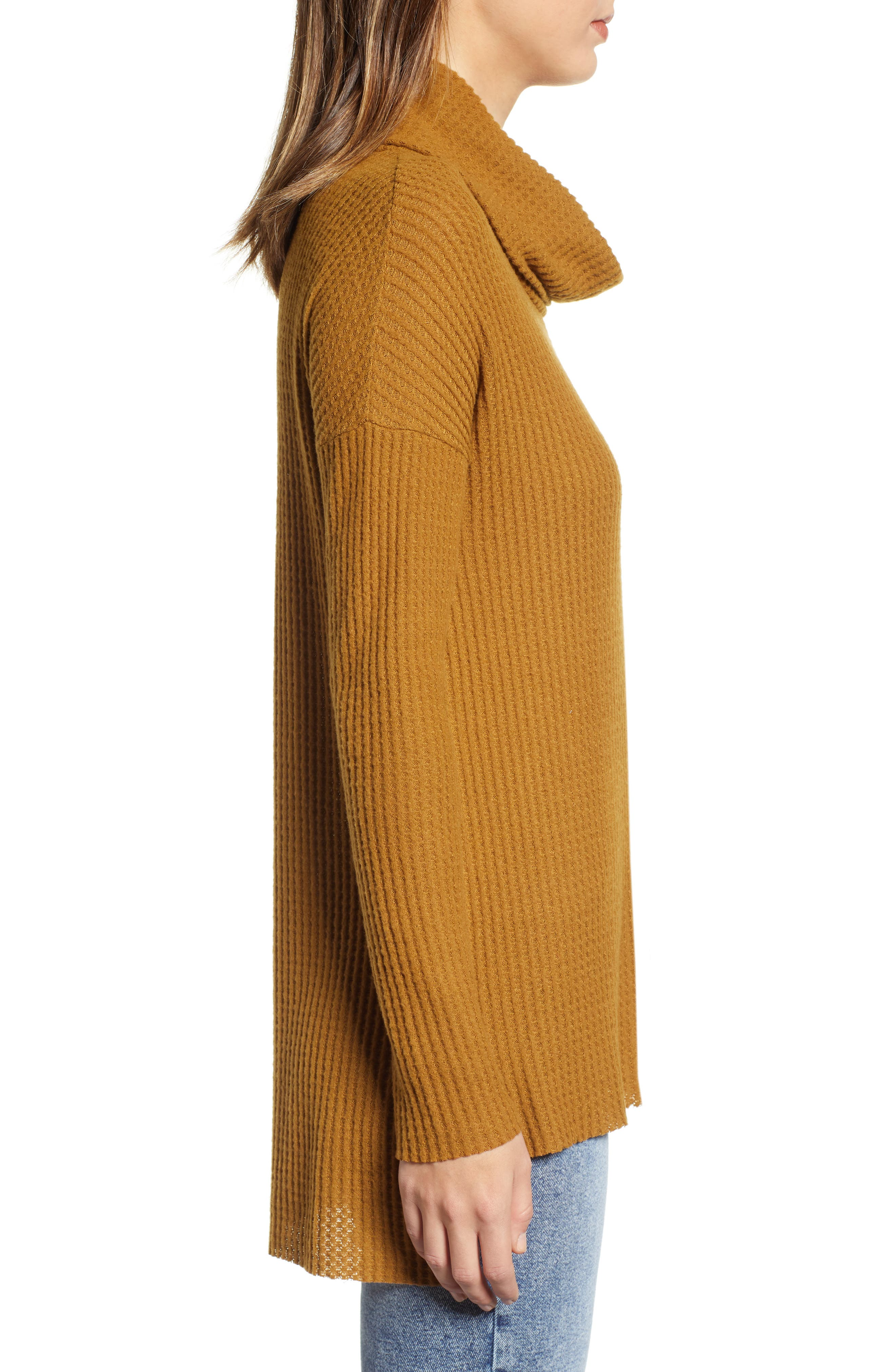 Funnel Neck Tunic,                             Alternate thumbnail 3, color,                             BROWN BRONZE