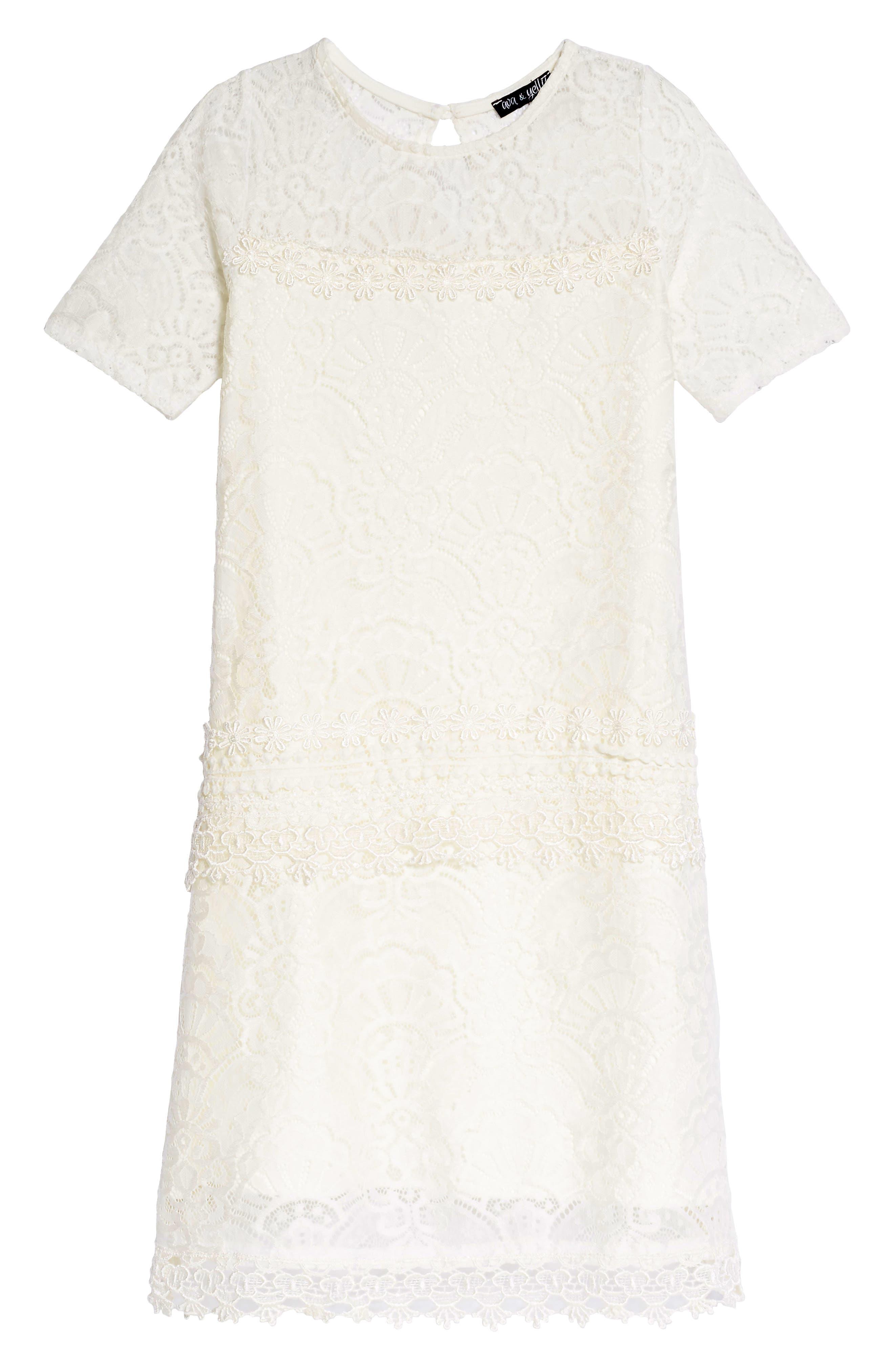 Lace Panel Shift Dress,                         Main,                         color, 100