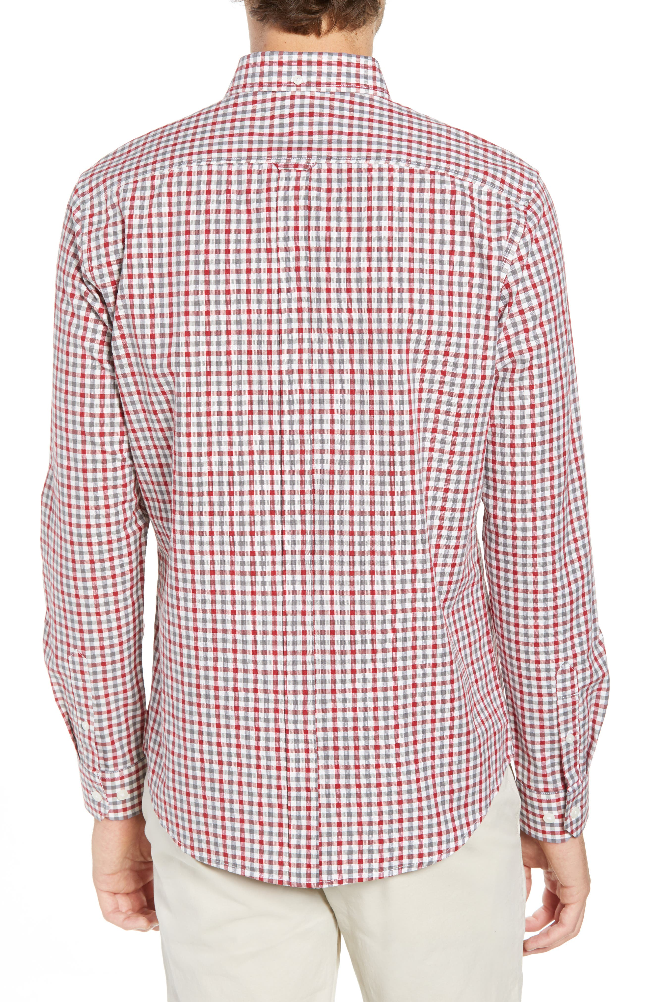 Mod Fit Gingham Woven Shirt,                             Alternate thumbnail 2, color,                             OFF WHITE