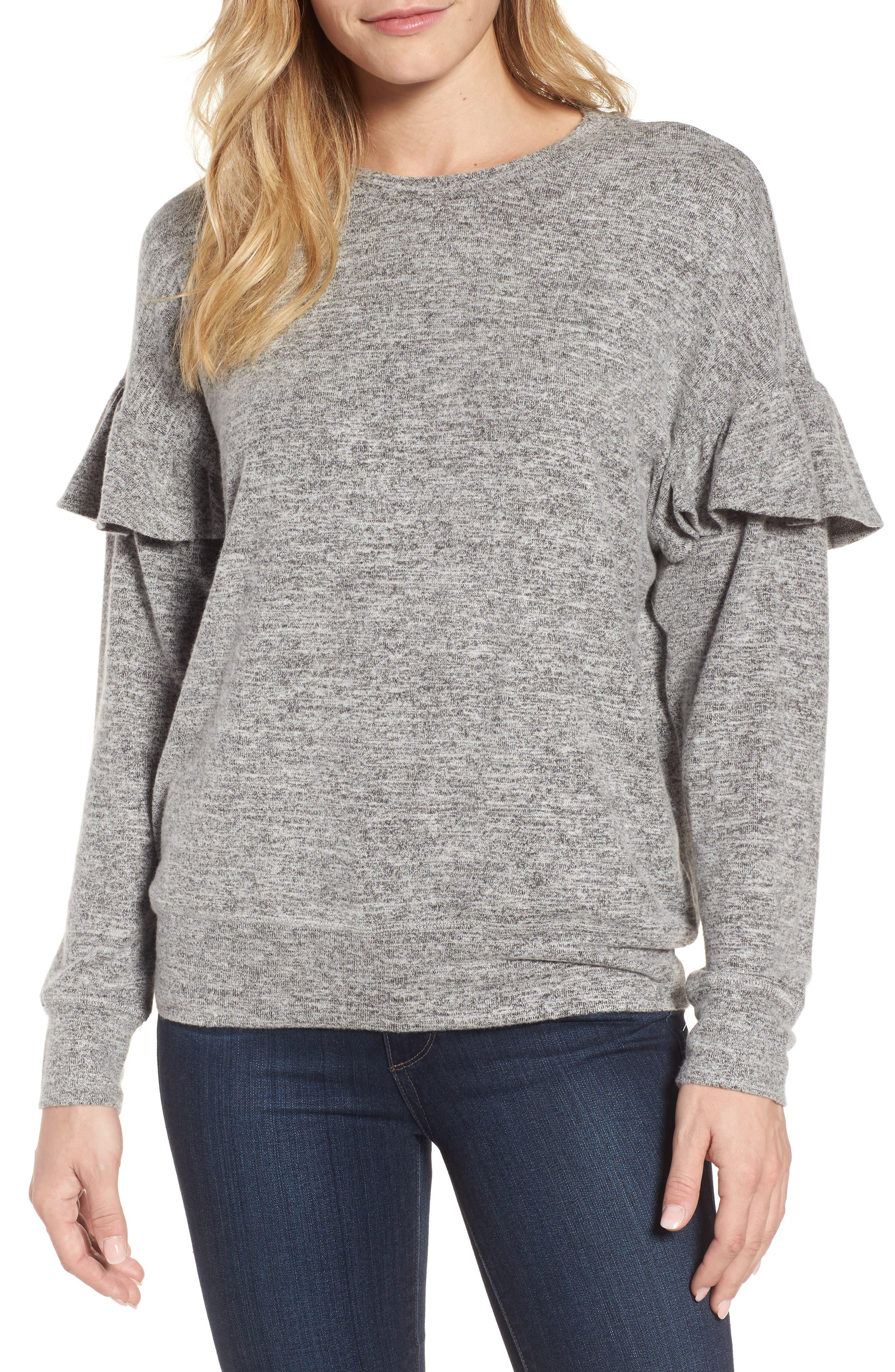 Ruffle Sleeve Sweatshirt,                         Main,                         color, 100