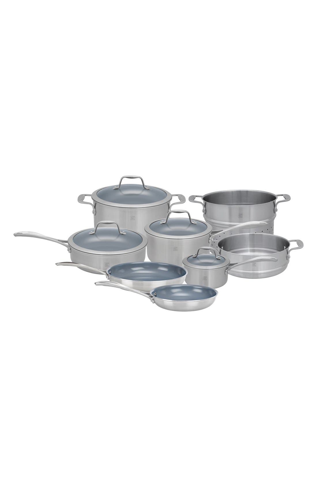 Stainless Steel Ceramic Nonstick Cookware Set,                             Main thumbnail 1, color,                             040