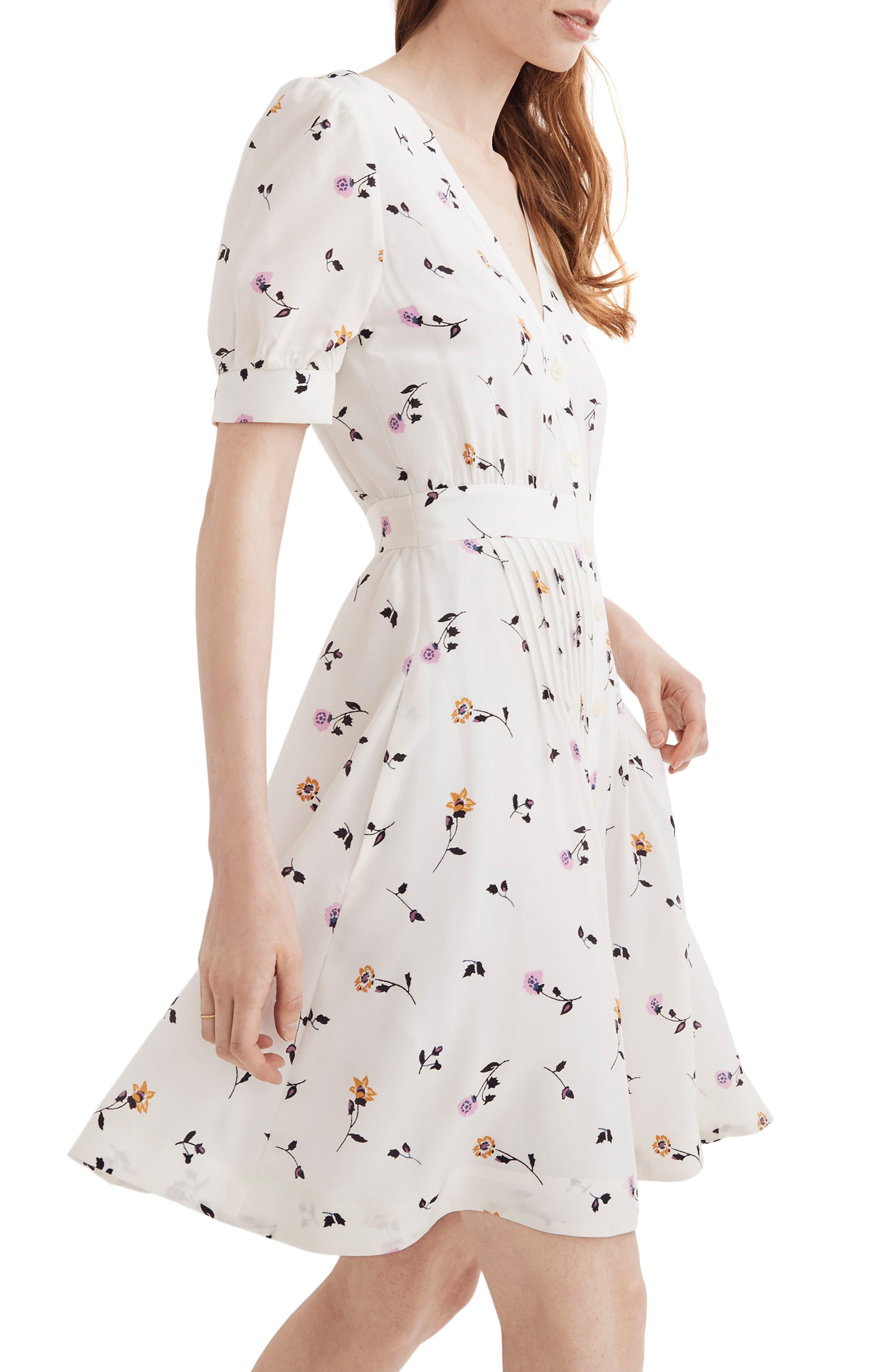 Daylily Pintuck Dress,                             Alternate thumbnail 4, color,                             WHITE WASH