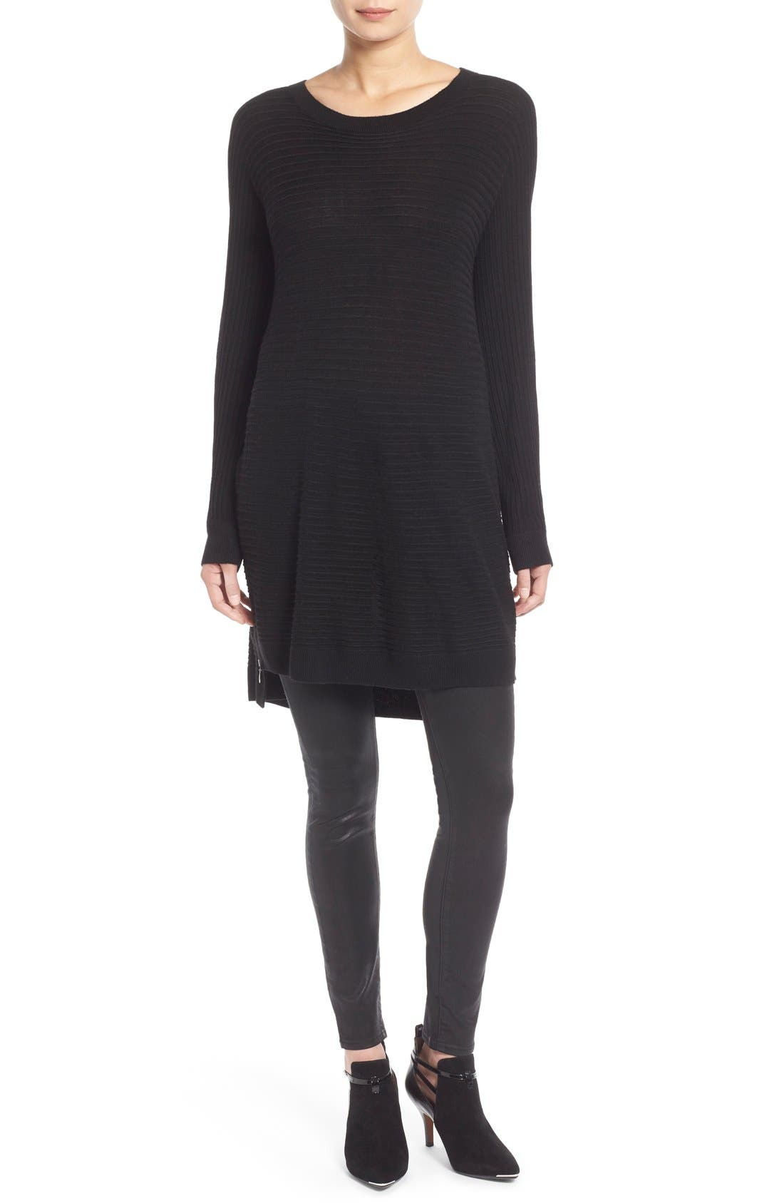 Side Zip Tunic Sweater,                             Alternate thumbnail 3, color,                             001