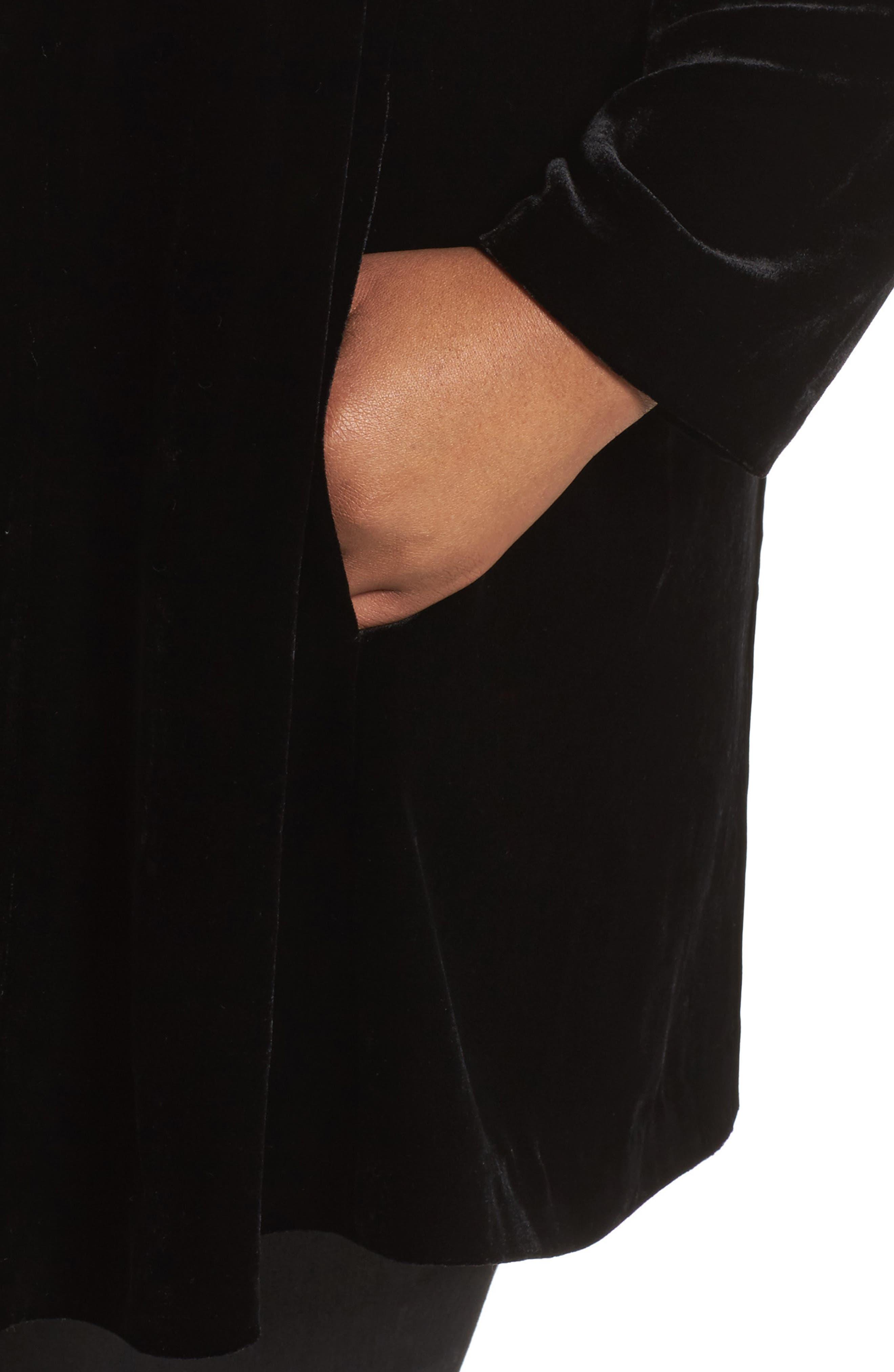Shawl Collar Velvet Jacket,                             Alternate thumbnail 4, color,                             001