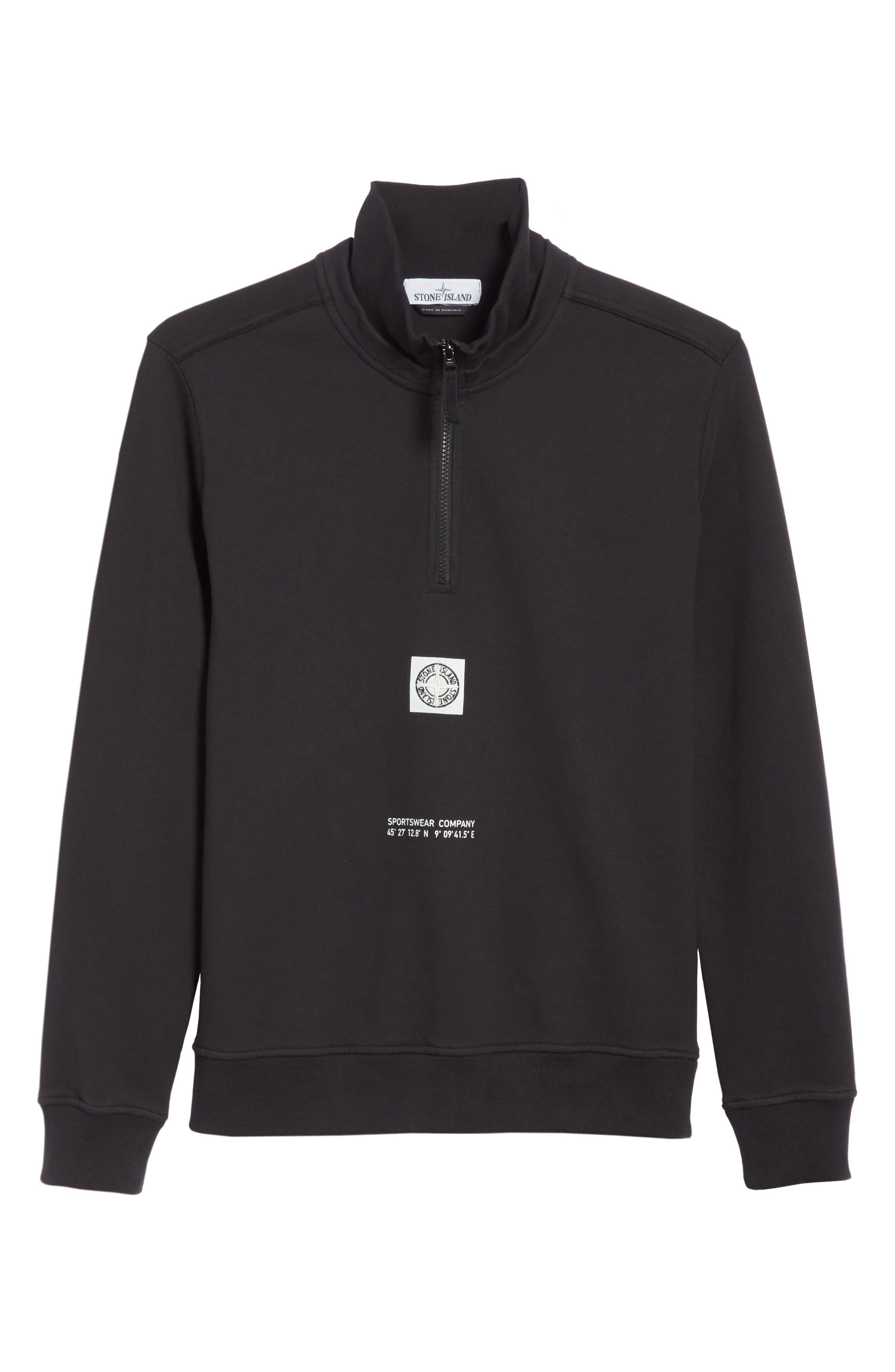 Half Zip Sweatshirt,                             Alternate thumbnail 6, color,                             001