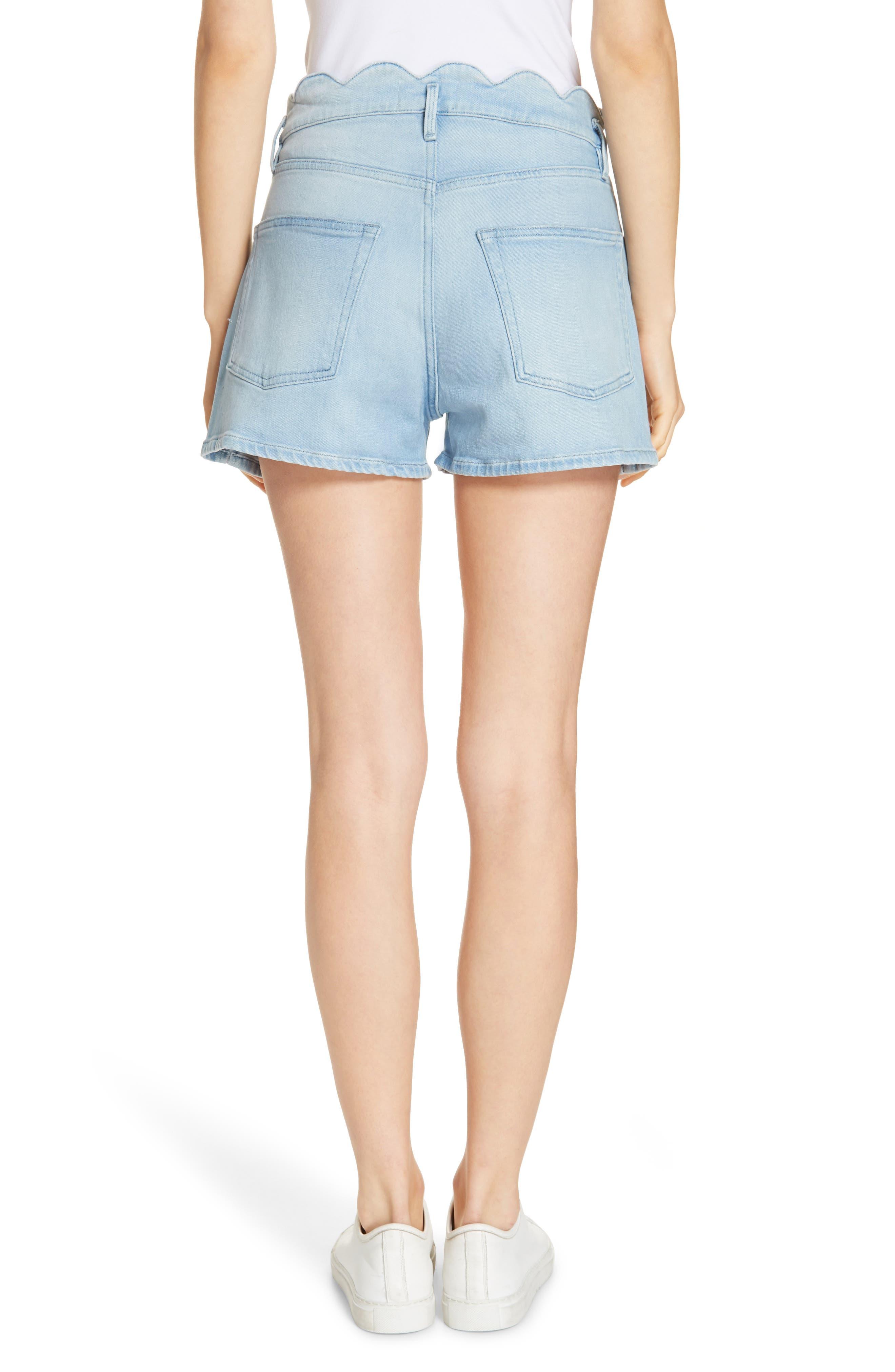 Scallop Waist Denim Shorts,                             Alternate thumbnail 2, color,                             WRIGHT
