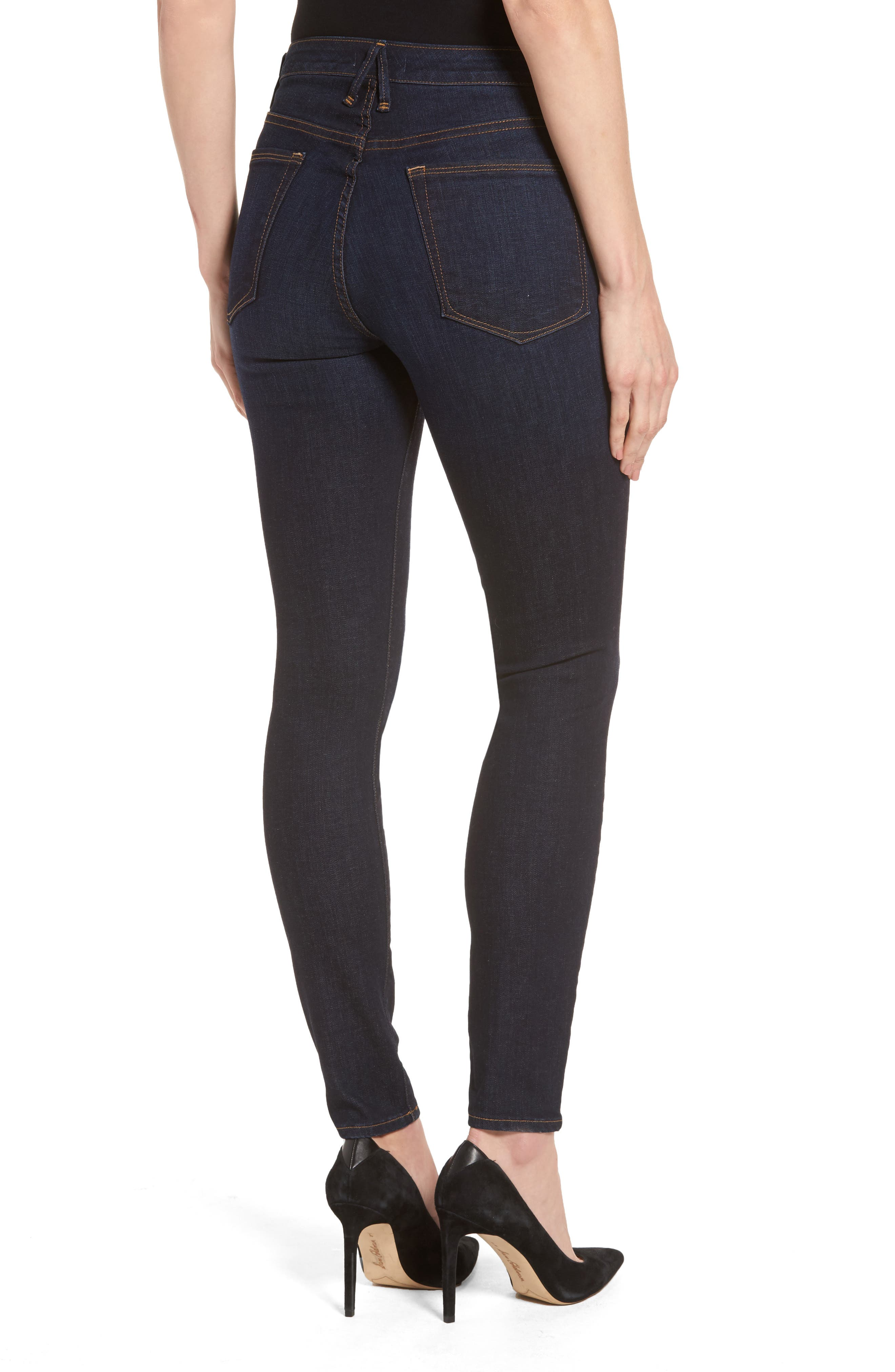 High Waist Side Zip Skinny Jeans,                             Alternate thumbnail 2, color,