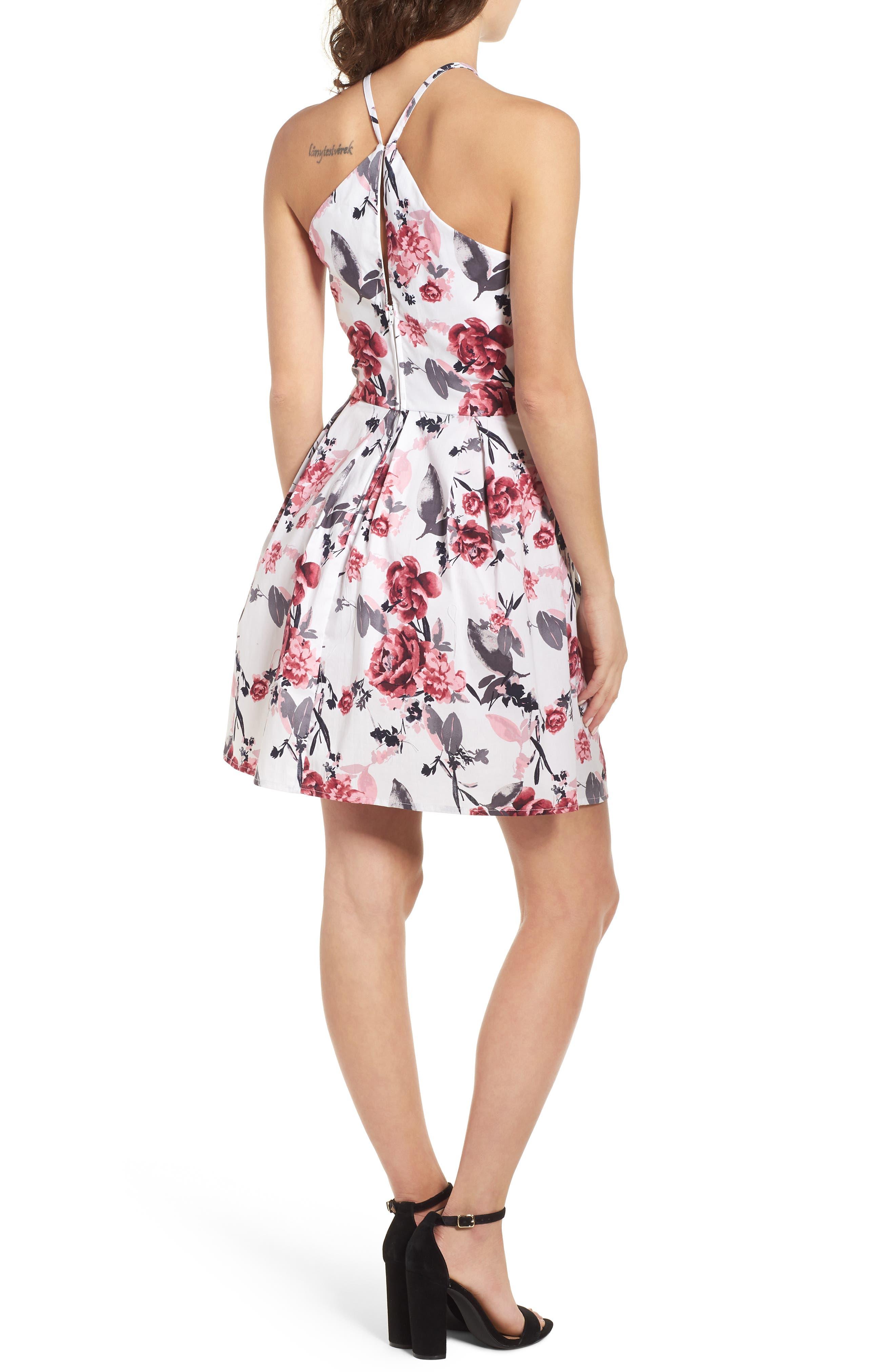 Halter Fit & Flare Dress,                             Alternate thumbnail 2, color,                             001