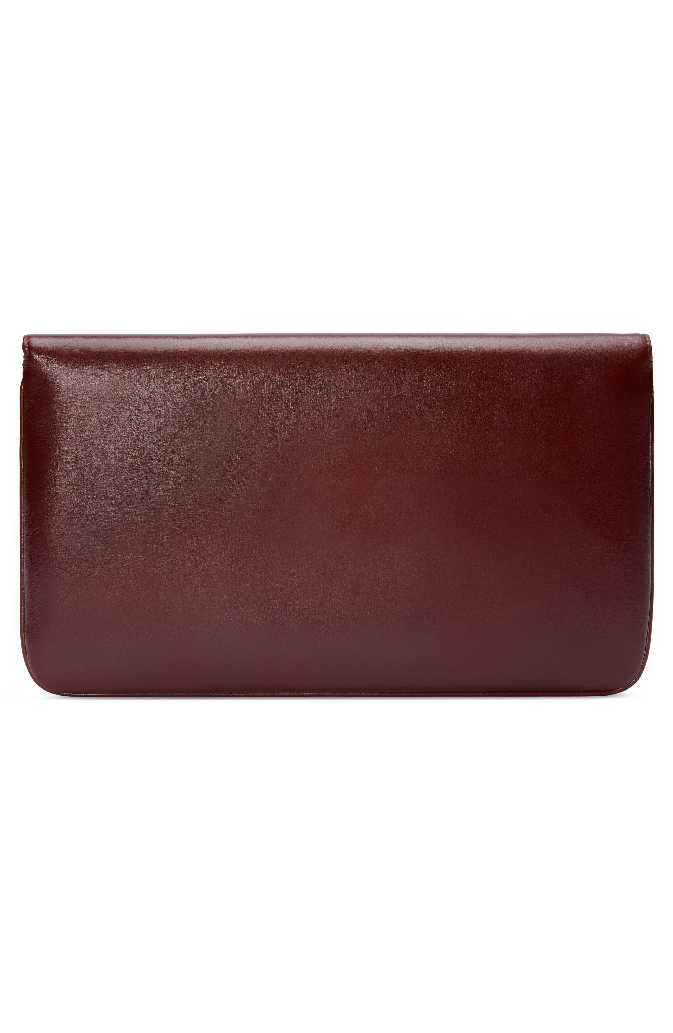 Linea Rajah Leather Clutch,                             Alternate thumbnail 2, color,                             VINTAGE BORDEAUX MULTI