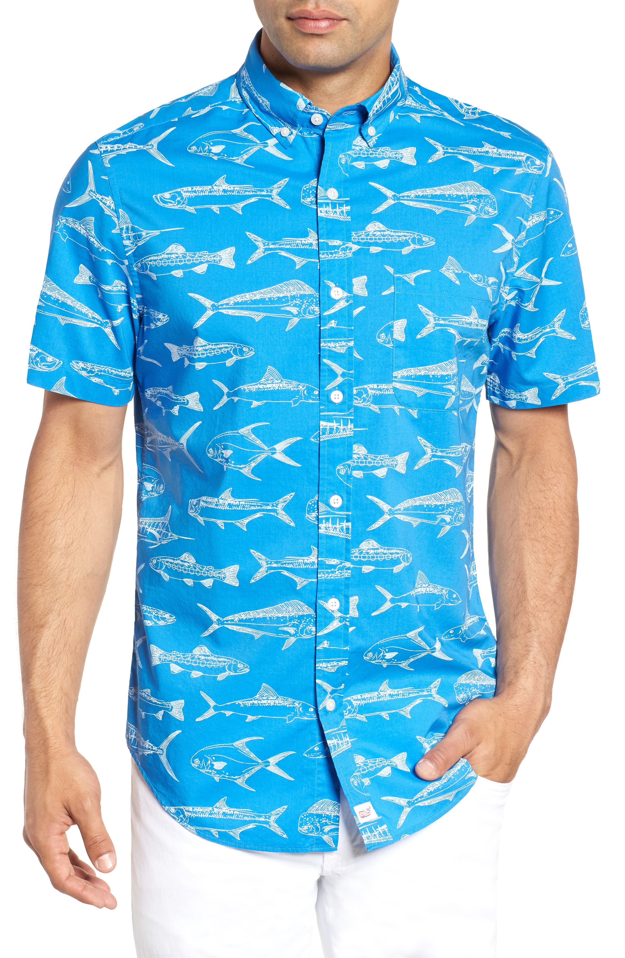 Fish Outlines Classic Fit Sport Shirt,                             Main thumbnail 1, color,                             421