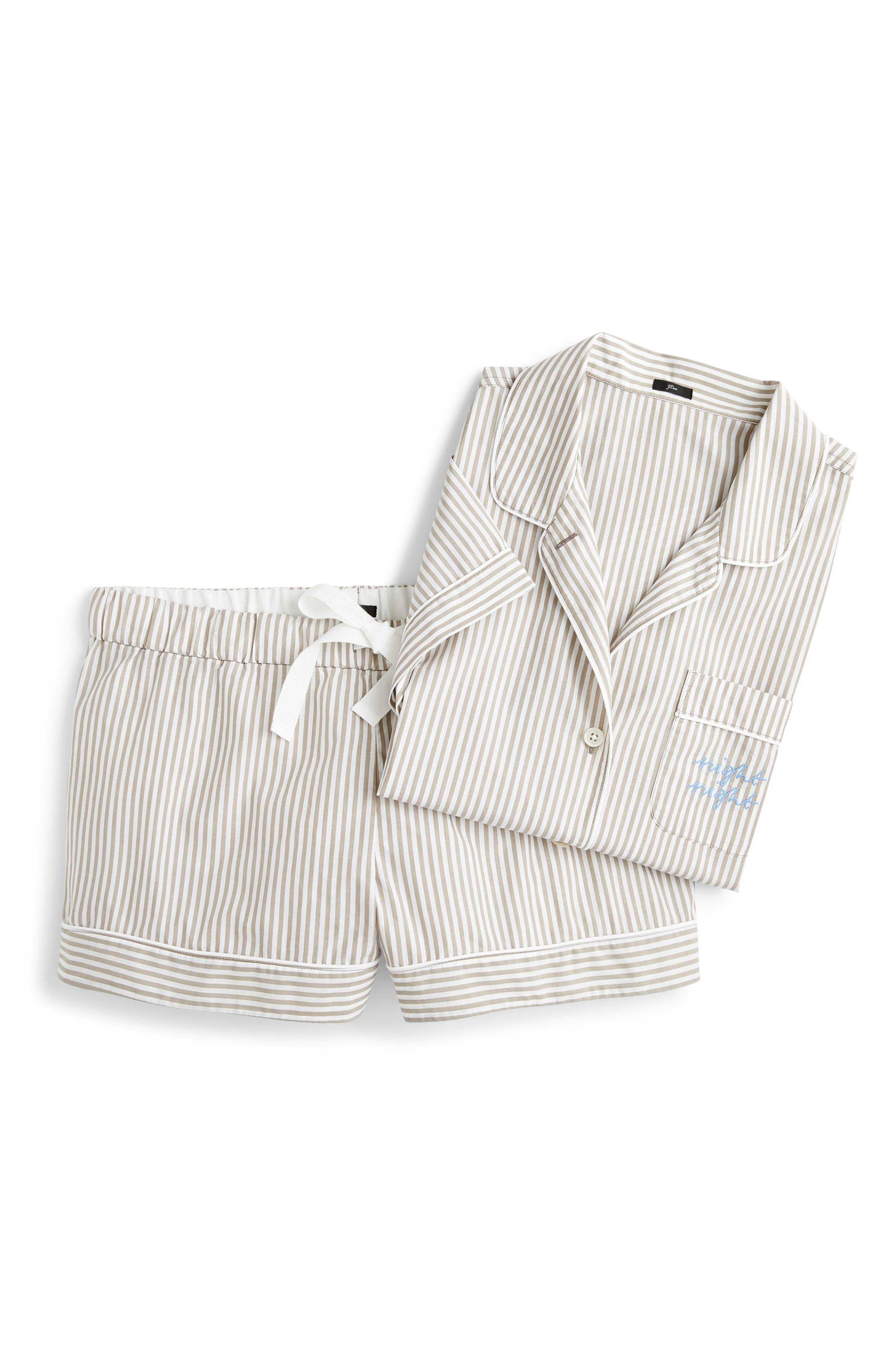 Night Night Short Pajamas,                             Alternate thumbnail 6, color,                             TAN WHITE STRIPE