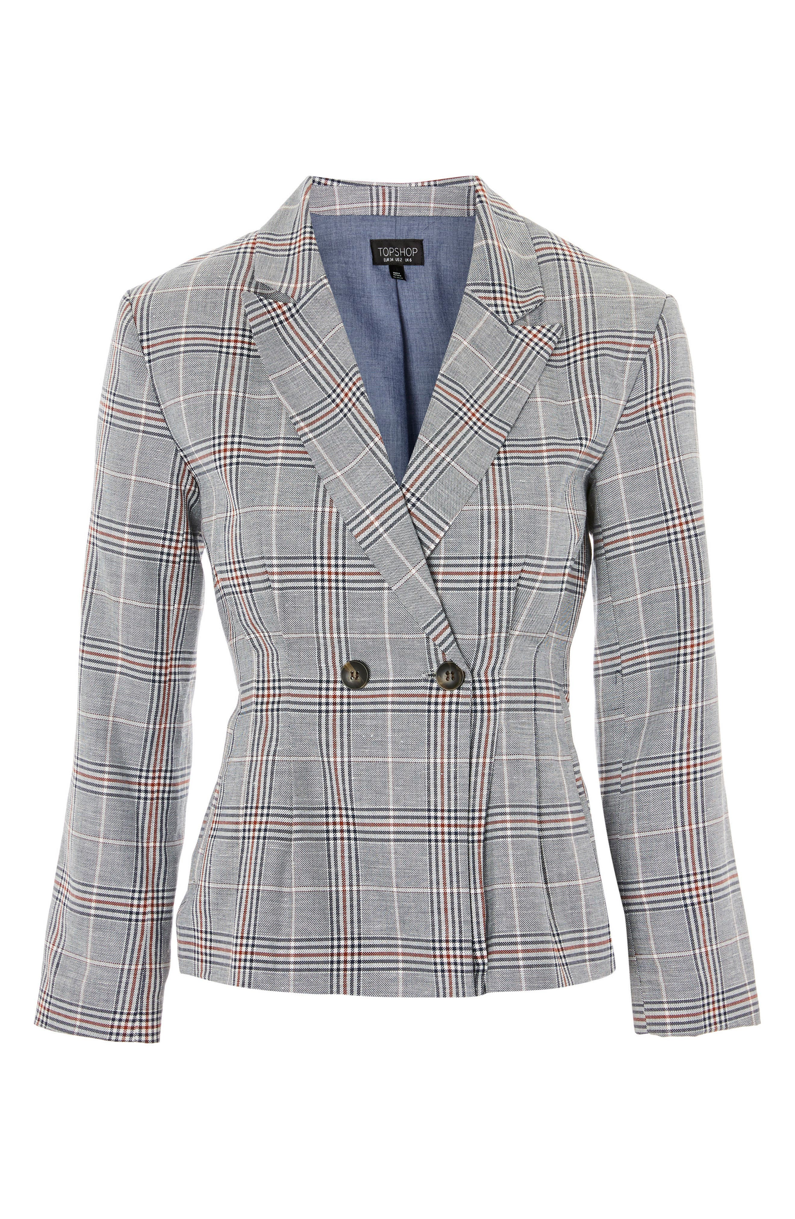 Cham Linen Checkered Jacket,                             Alternate thumbnail 4, color,                             021