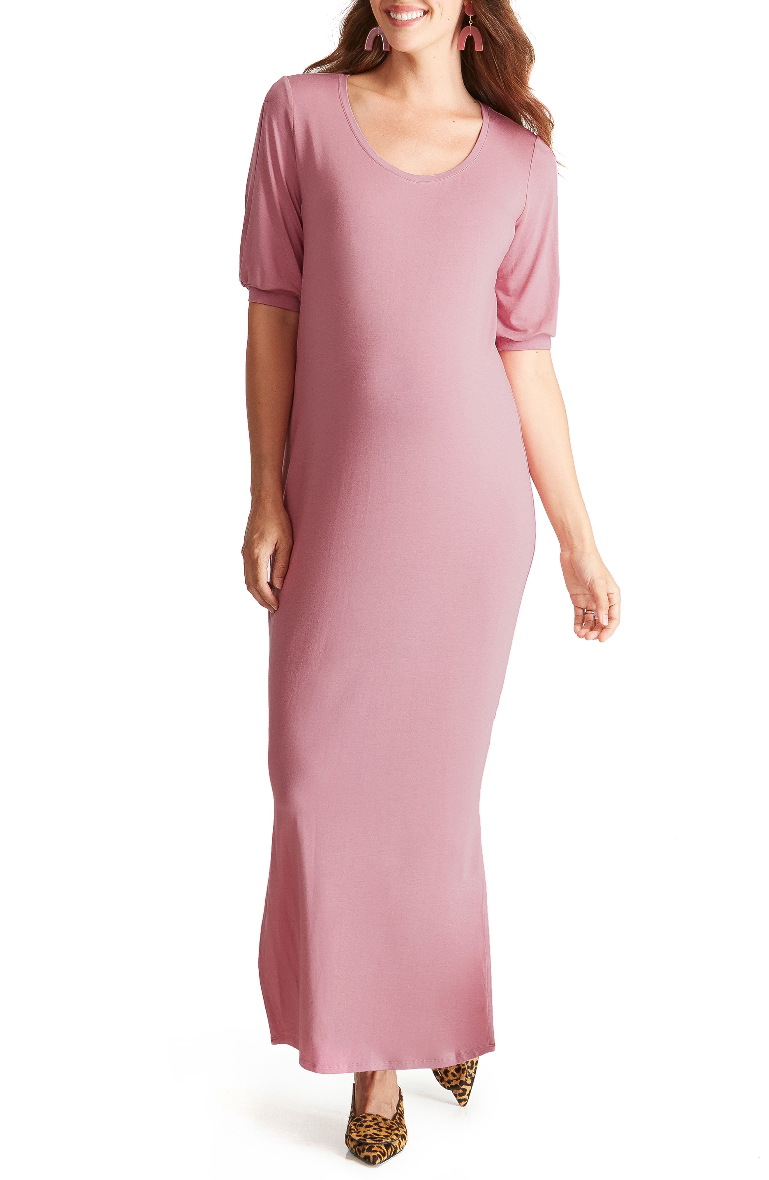 Ingrid & Isabel Split Sleeve Knit Maternity Maxi Dress, Pink