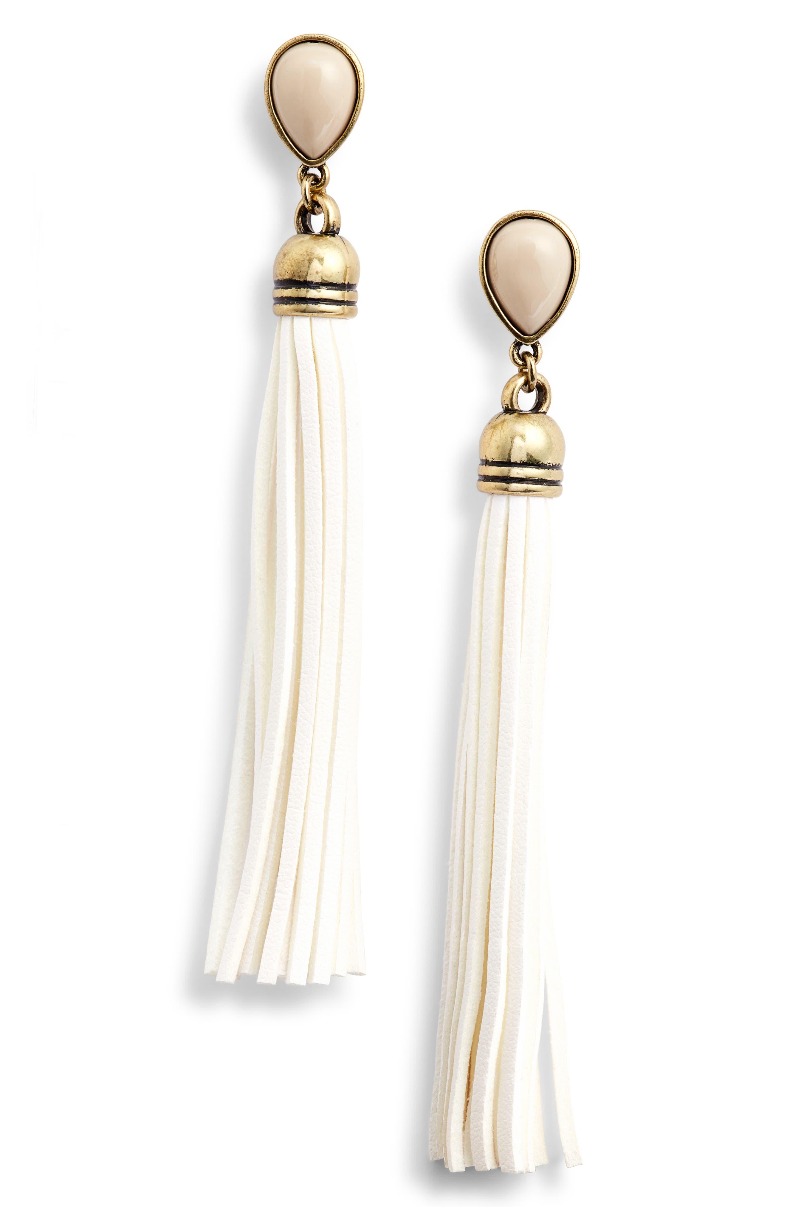 Faux Suede Tassel Earrings,                             Main thumbnail 1, color,                             WHITE