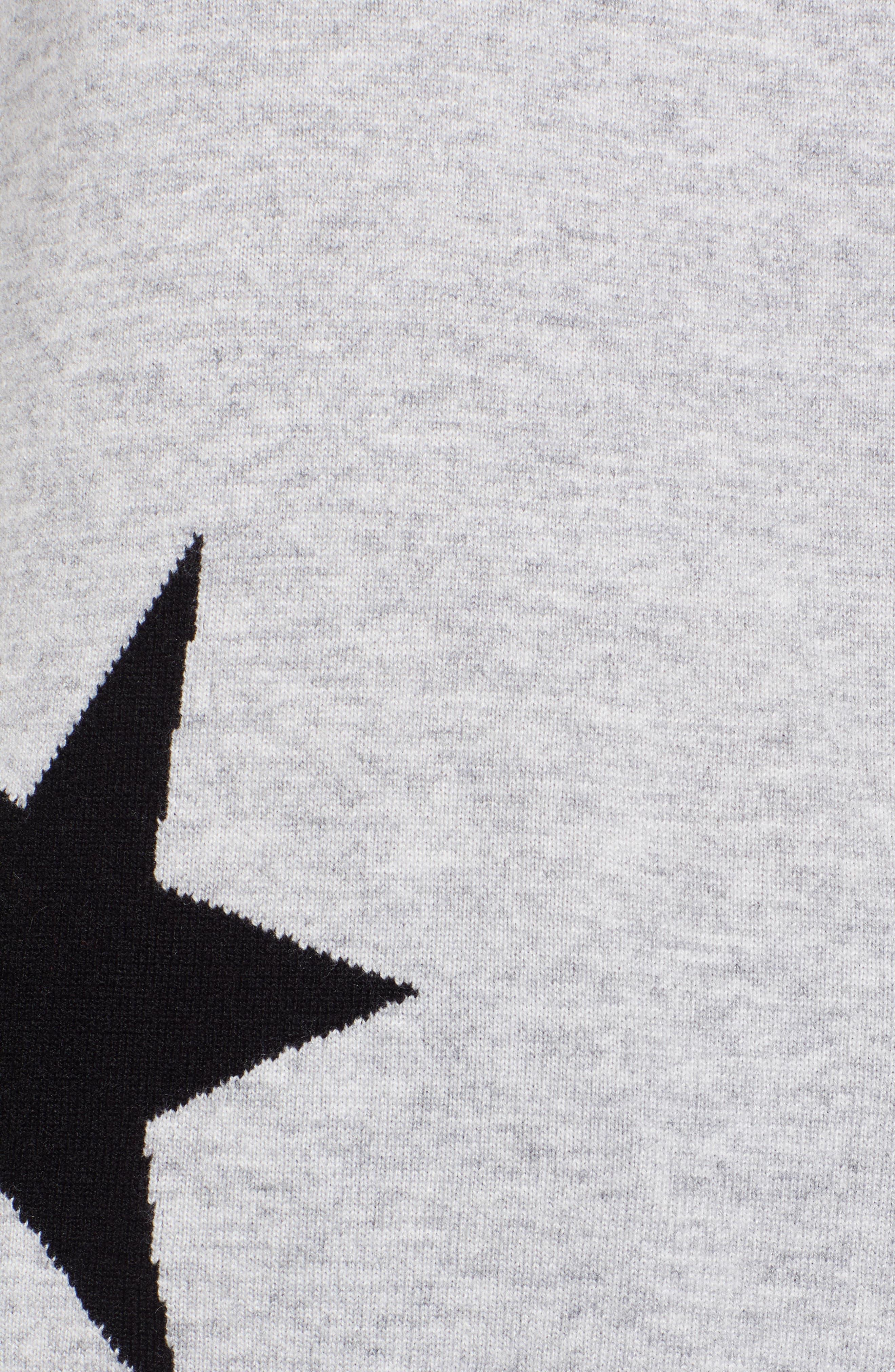 Star Intarsia V-Neck Sweater,                             Alternate thumbnail 5, color,                             HEATHER GREY