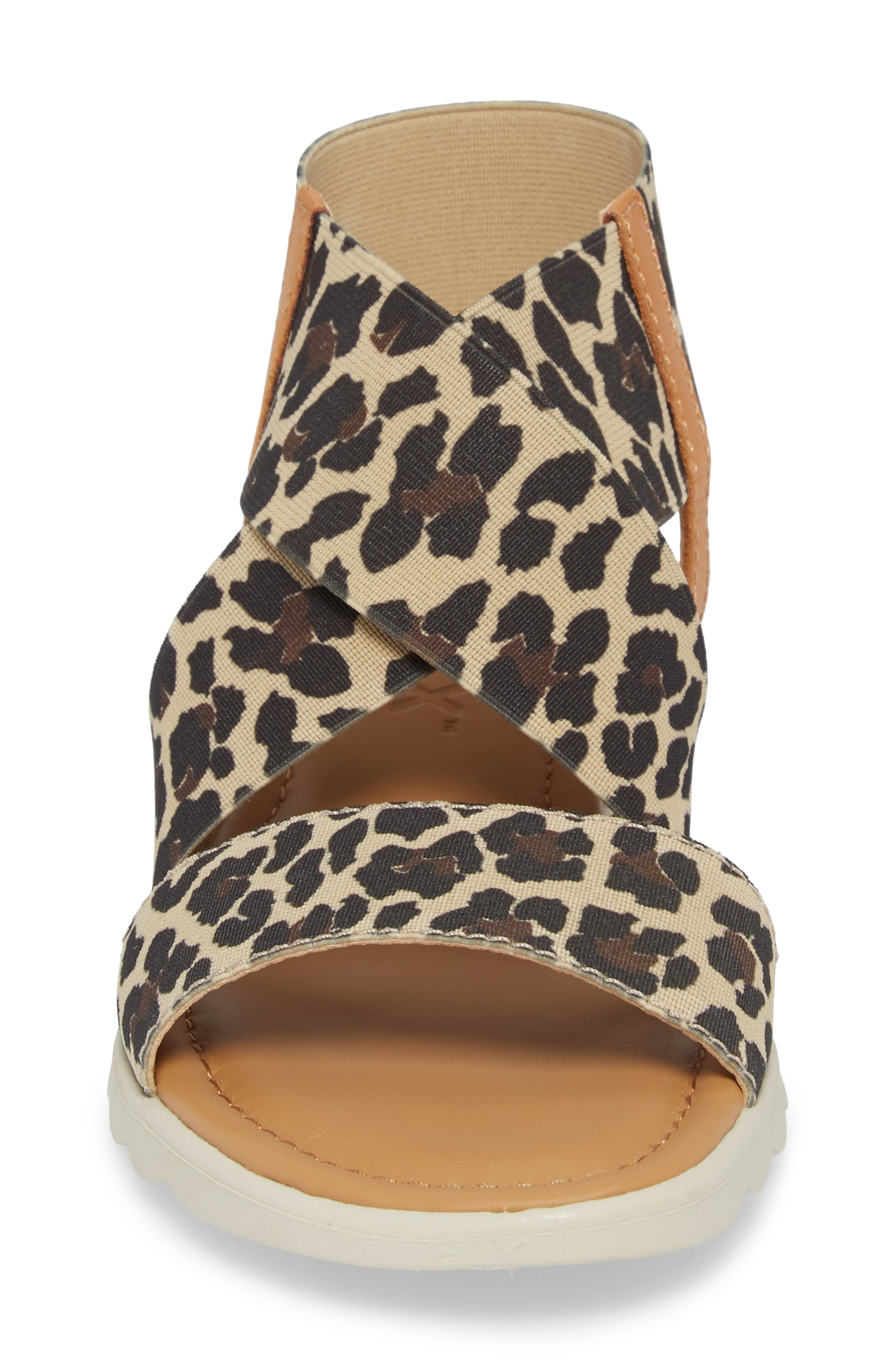 Extra Sandal,                             Alternate thumbnail 4, color,                             DUNE LEOPARD FABRIC