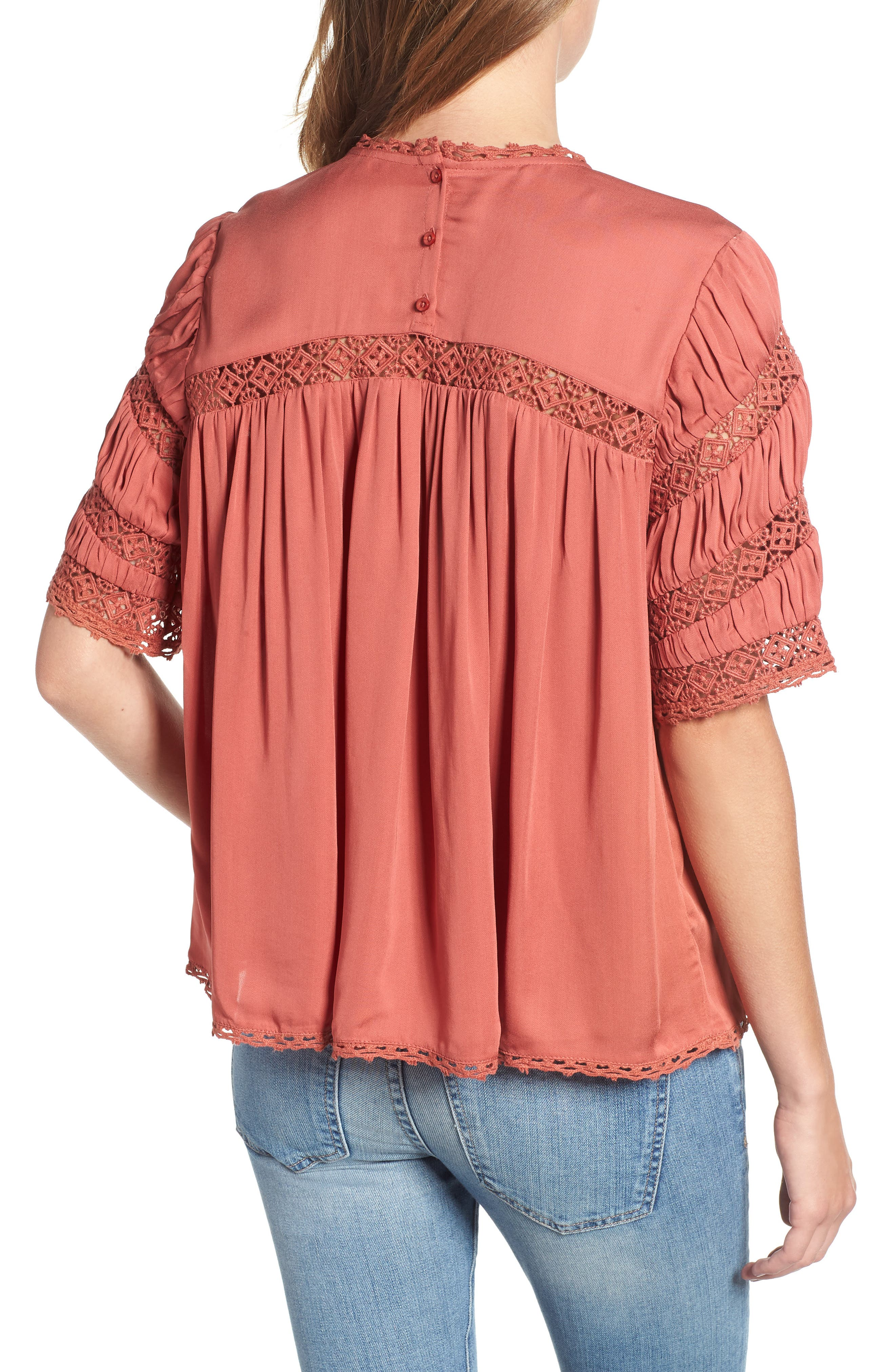HINGE,                             Gathered Lace Top,                             Alternate thumbnail 2, color,                             660