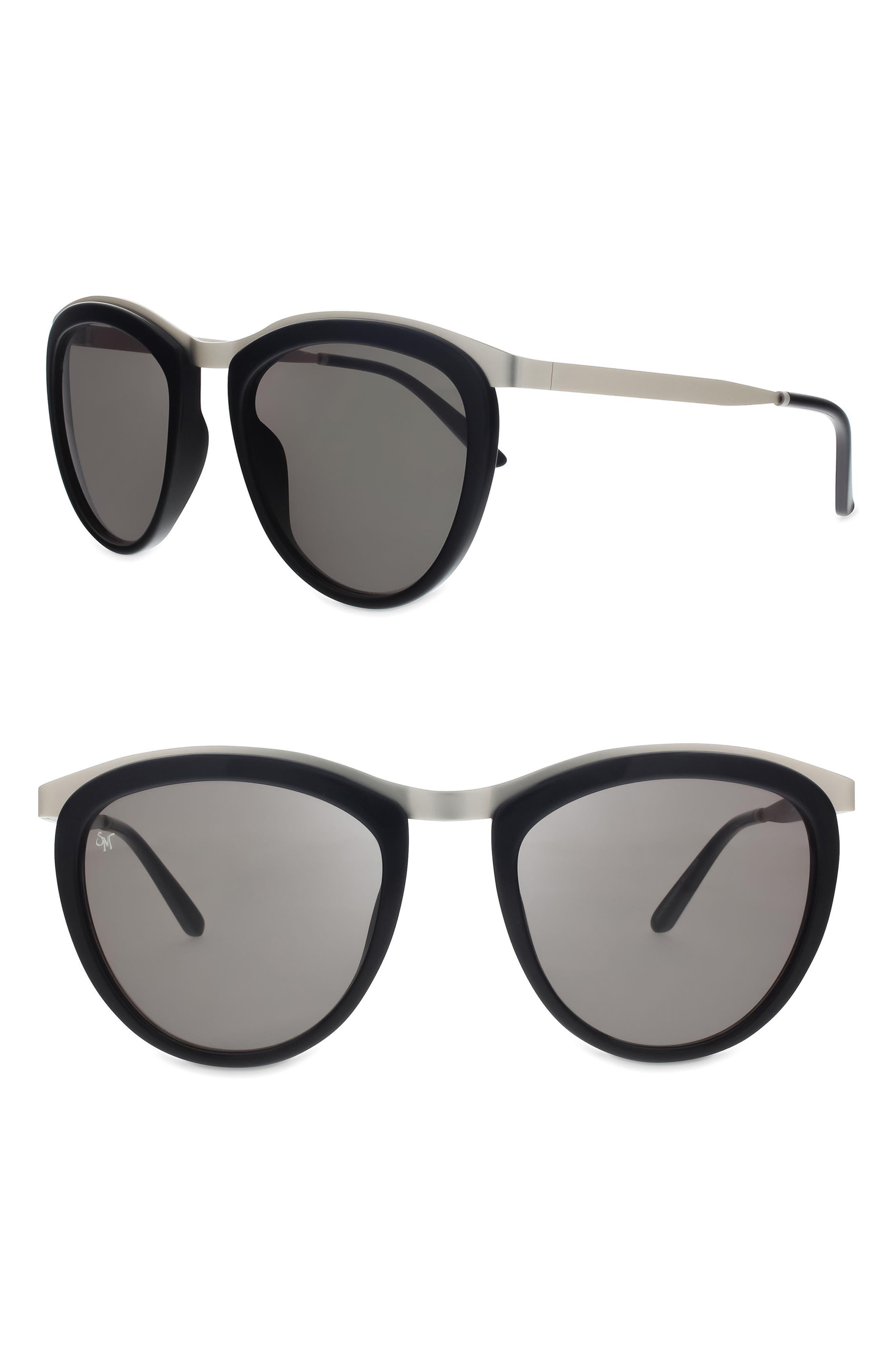Comic Strip 51mm Round Sunglasses,                             Main thumbnail 1, color,                             BLACK/ MATTE SILVER