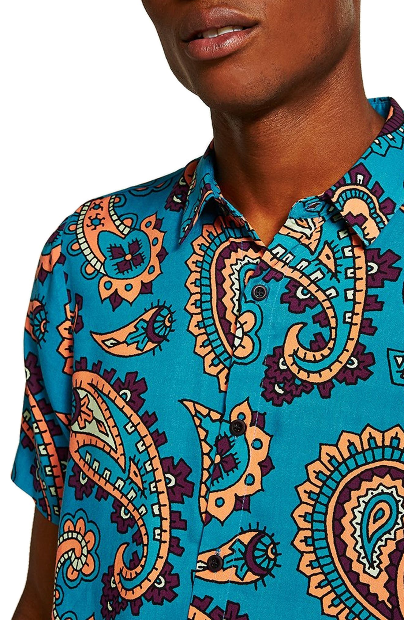 Paisley Woven Shirt,                             Alternate thumbnail 2, color,                             BLUE MULTI