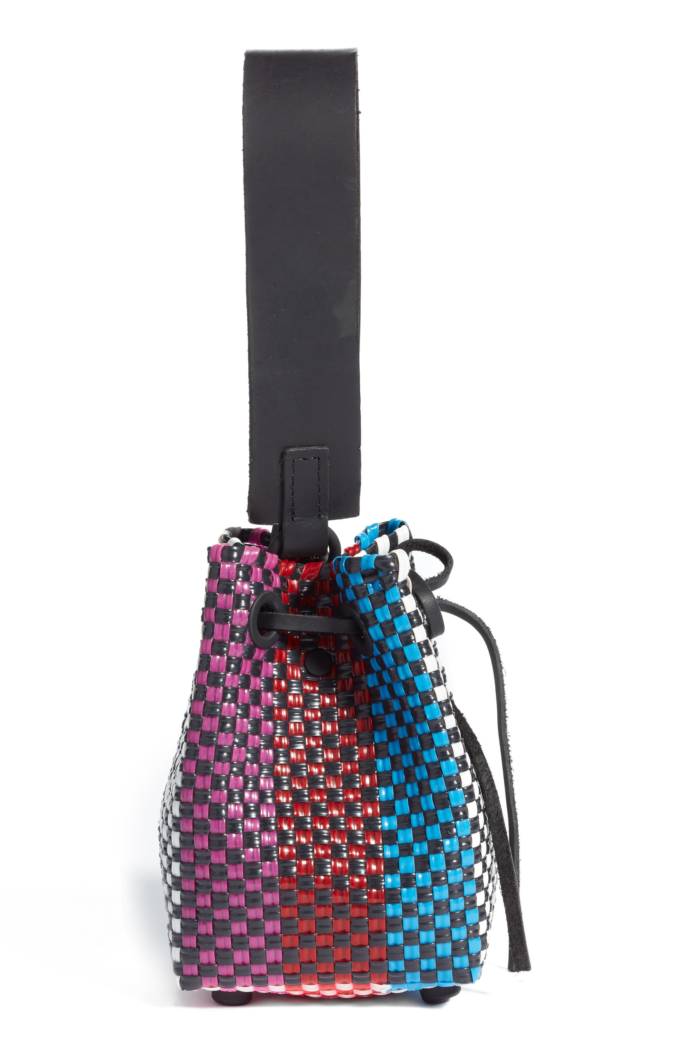 Party Woven Bucket Bag,                             Alternate thumbnail 5, color,                             FUCHSIA/ RED