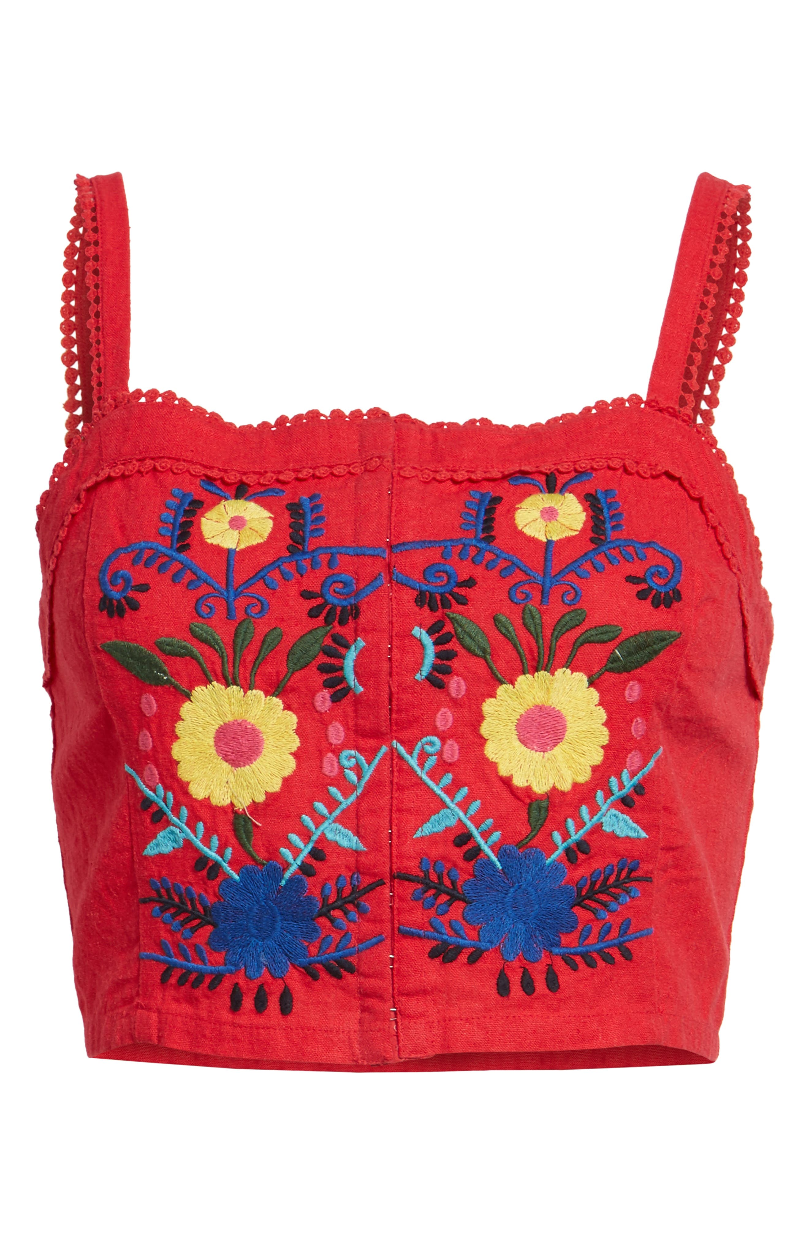 Embroidered Corset Crop Top,                             Alternate thumbnail 6, color,                             610