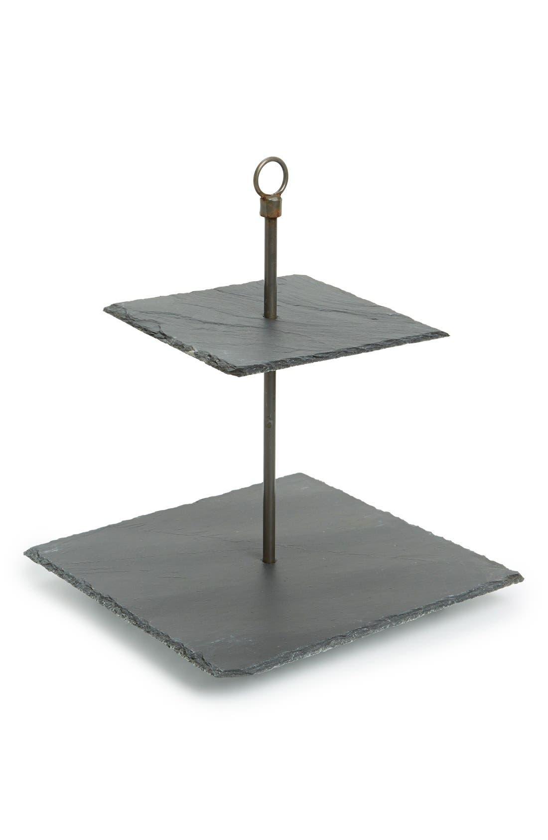 KALALOU Two-Tier Slate Serving Stand, Main, color, 001