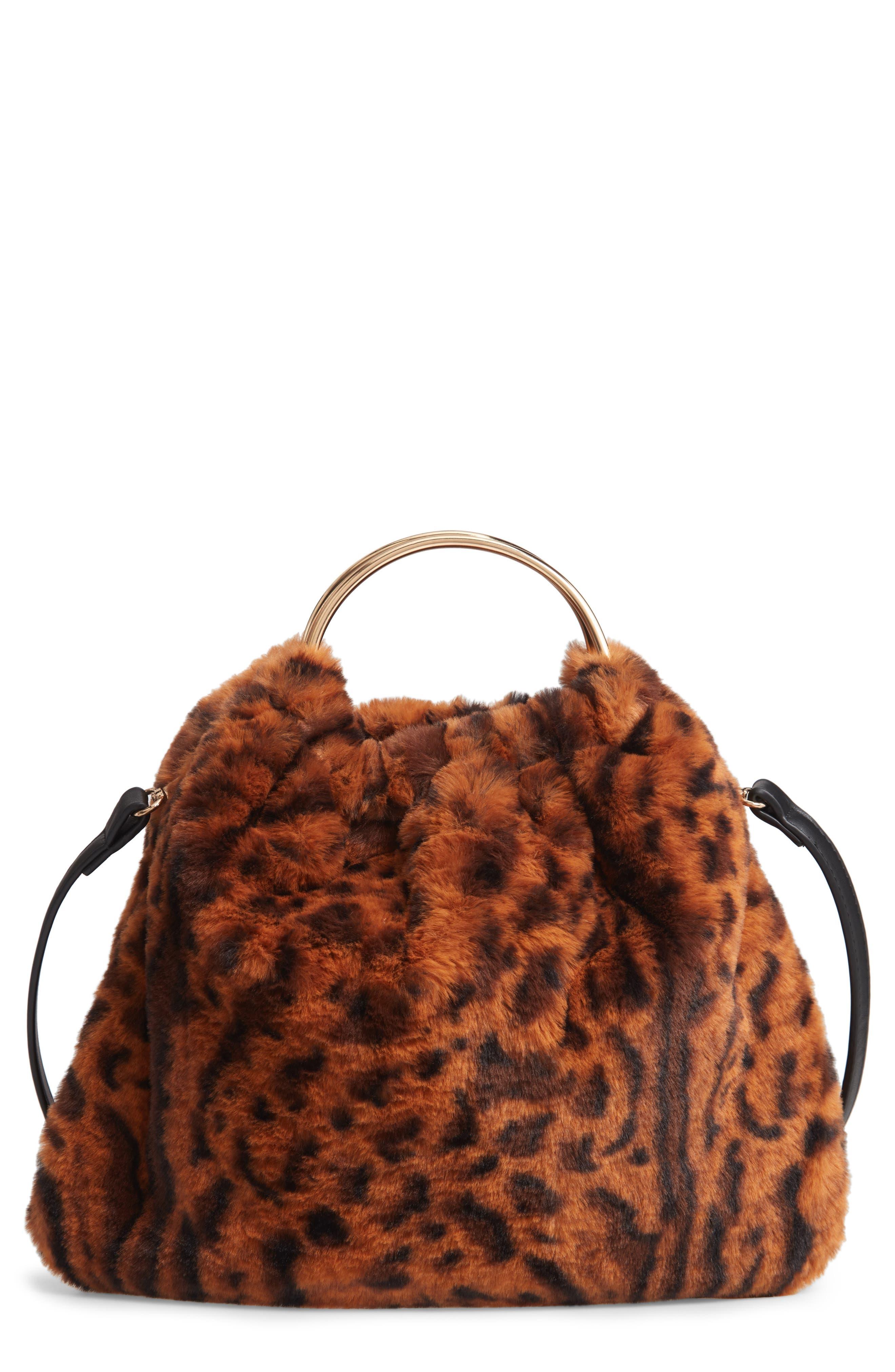 Ring Handle Faux Fur Bag,                             Main thumbnail 1, color,                             LEOPARD