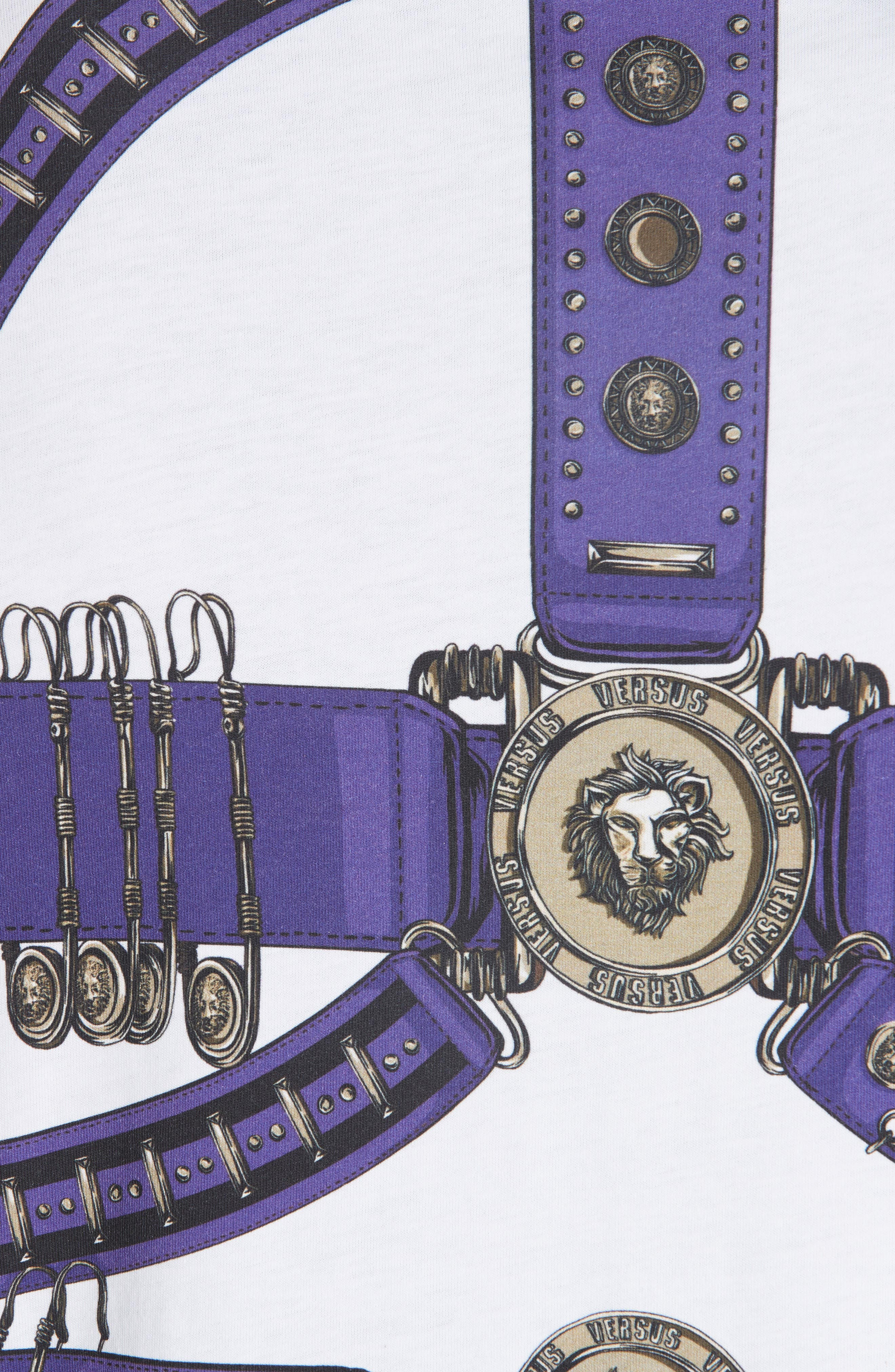 Safety Pin Harness T-Shirt,                             Alternate thumbnail 5, color,                             PURPLE AND WHITE