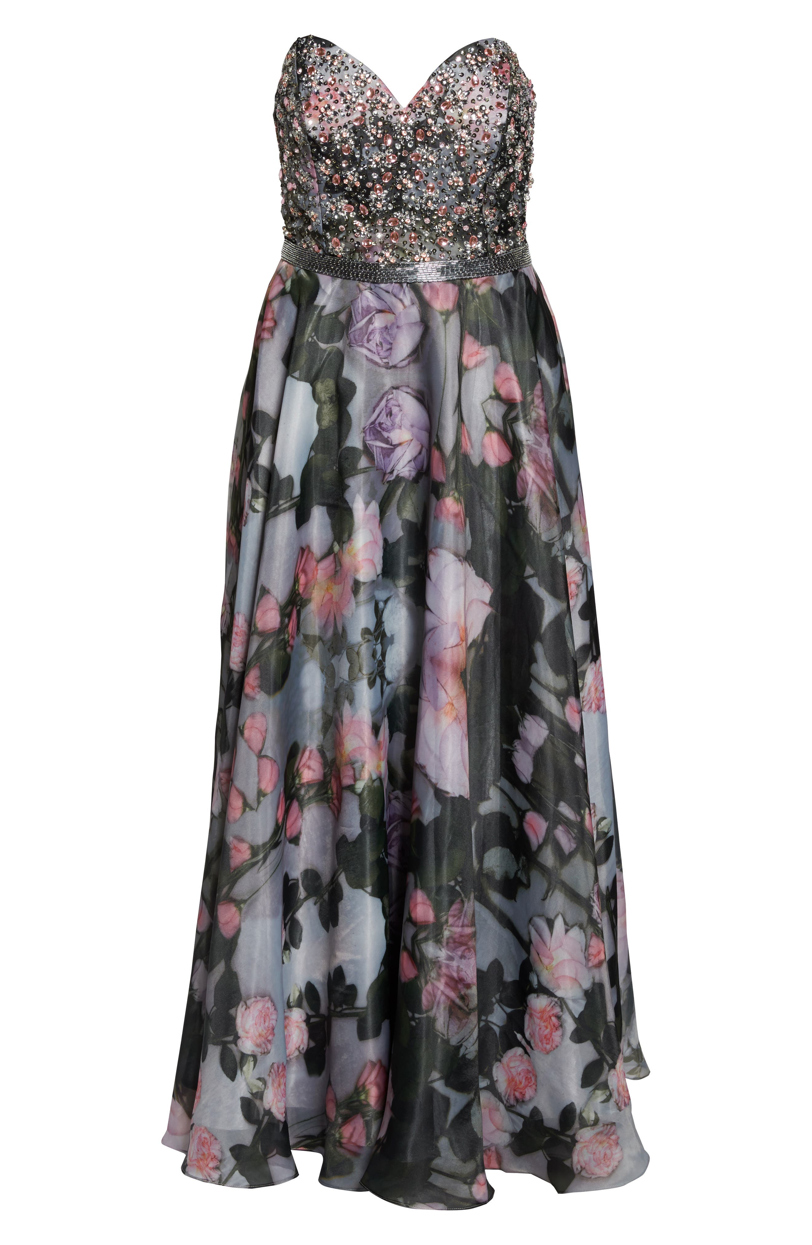 Embellished Flora Strapless Sweetheart Gown,                             Alternate thumbnail 6, color,                             665