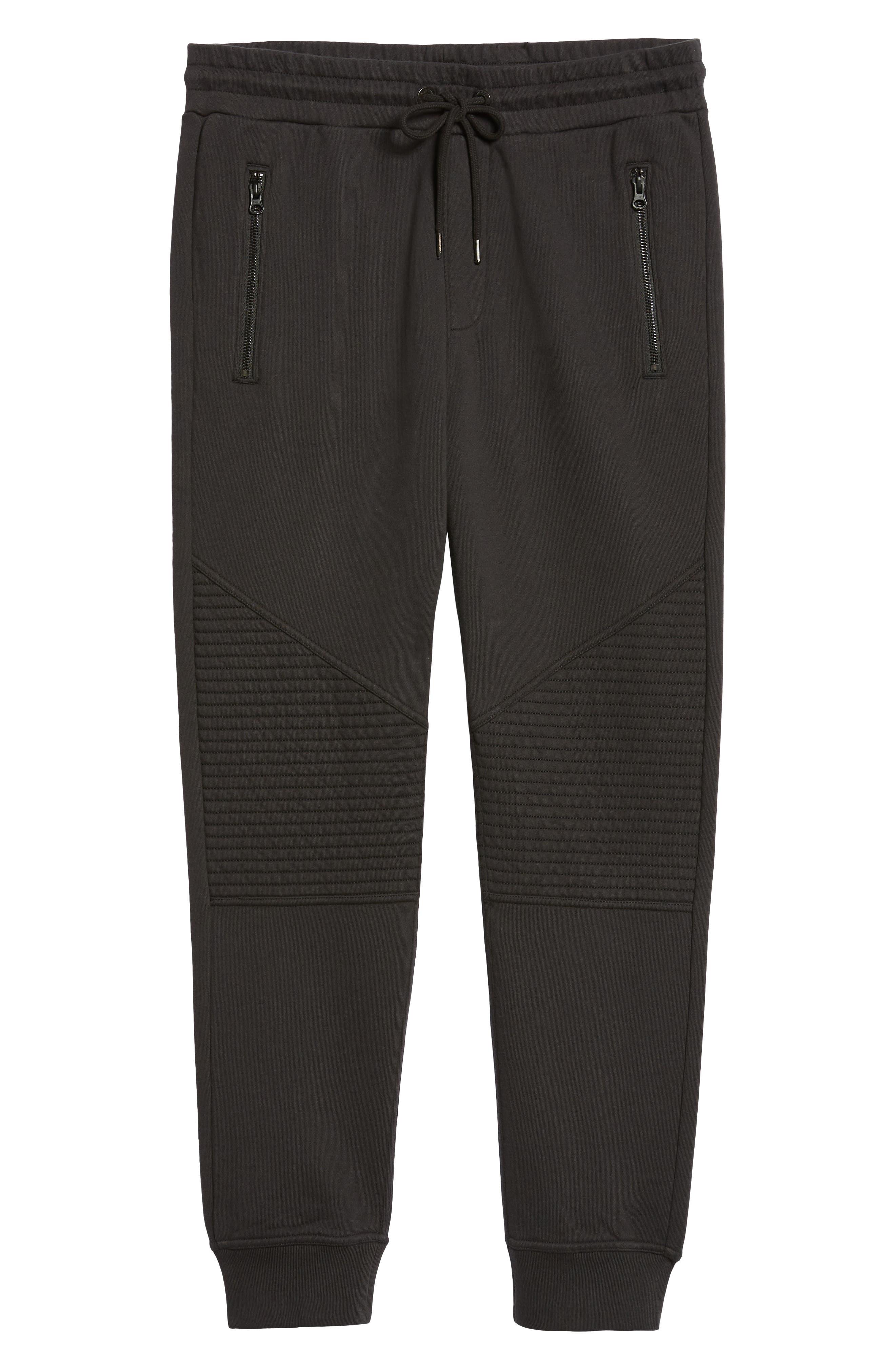 Hudson Blinder Slim Fit Moto Sweatpants,                             Alternate thumbnail 6, color,                             BLACK