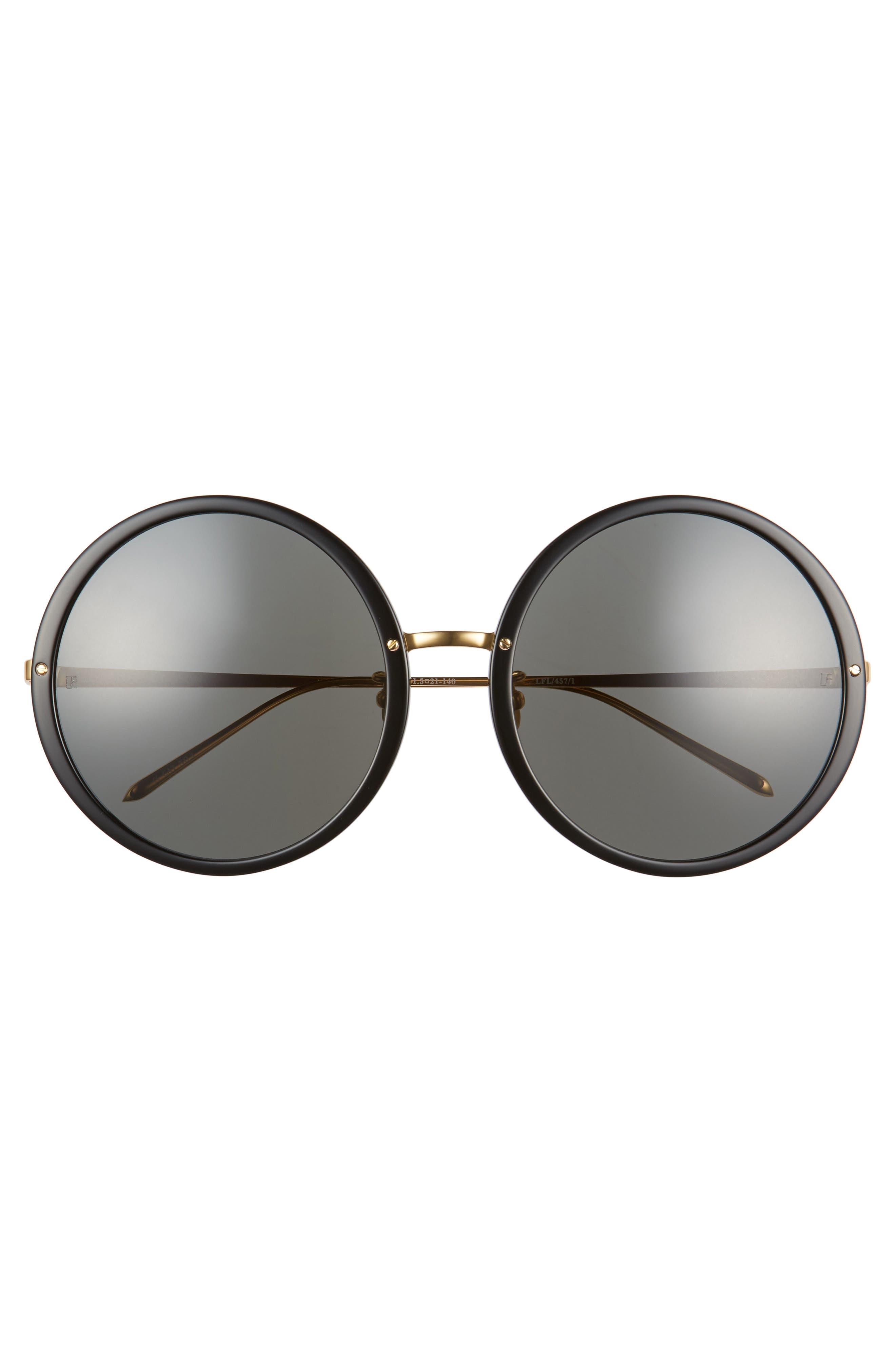 61mm Round 18 Karat Gold Trim Sunglasses,                             Alternate thumbnail 3, color,                             BLACK/ YELLOW GOLD/ GREY