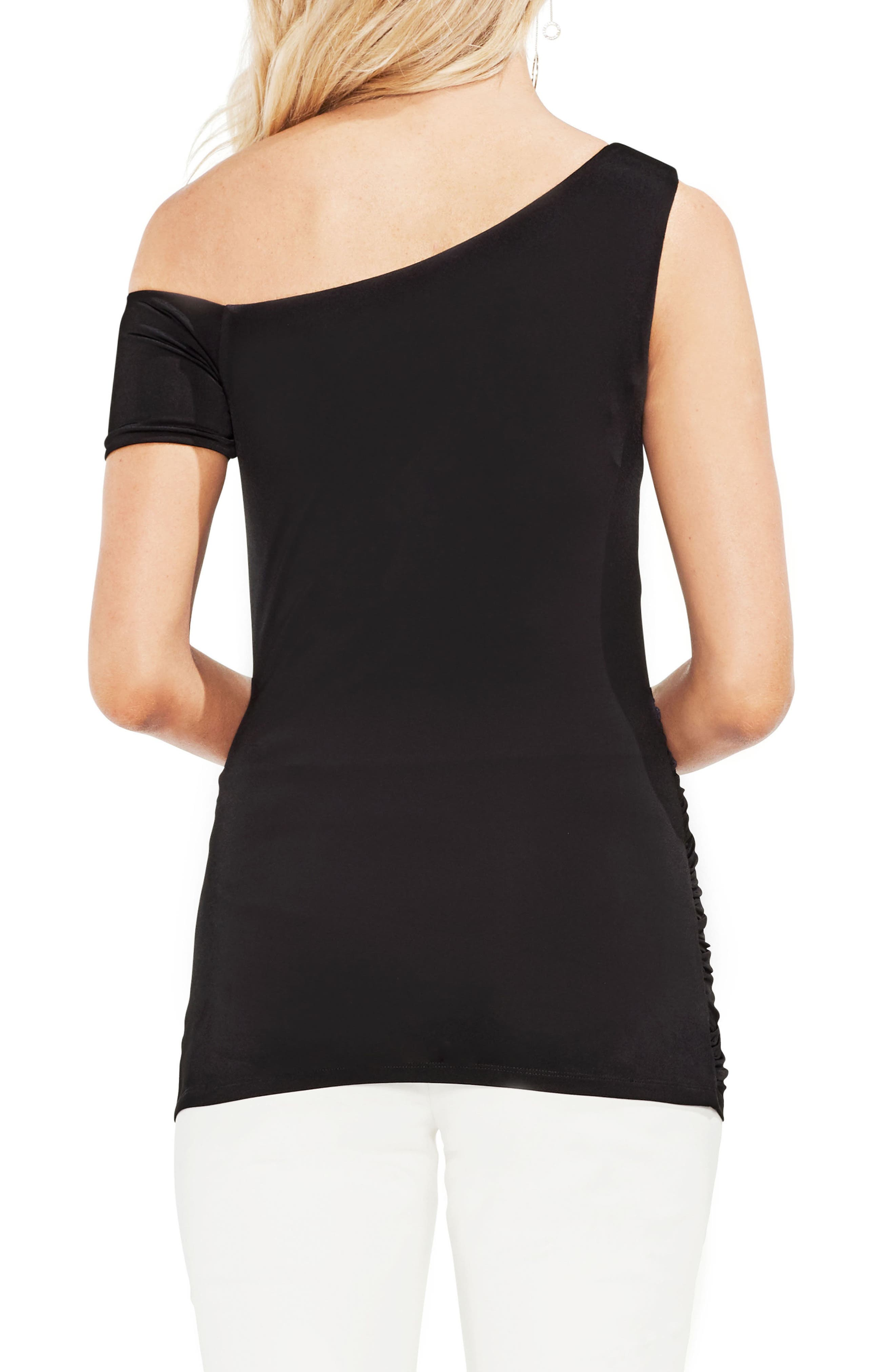 One-Shoulder Ruched Liquid Knit Top,                             Alternate thumbnail 2, color,                             001