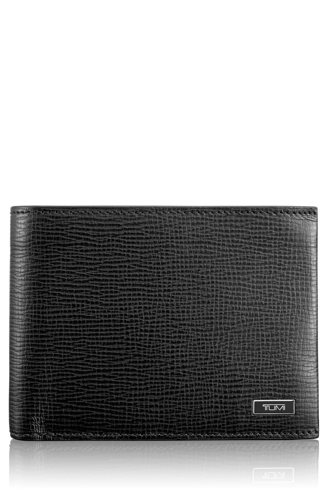 Monaco Global Leather Wallet with Coin Pocket,                             Main thumbnail 1, color,                             BLACK