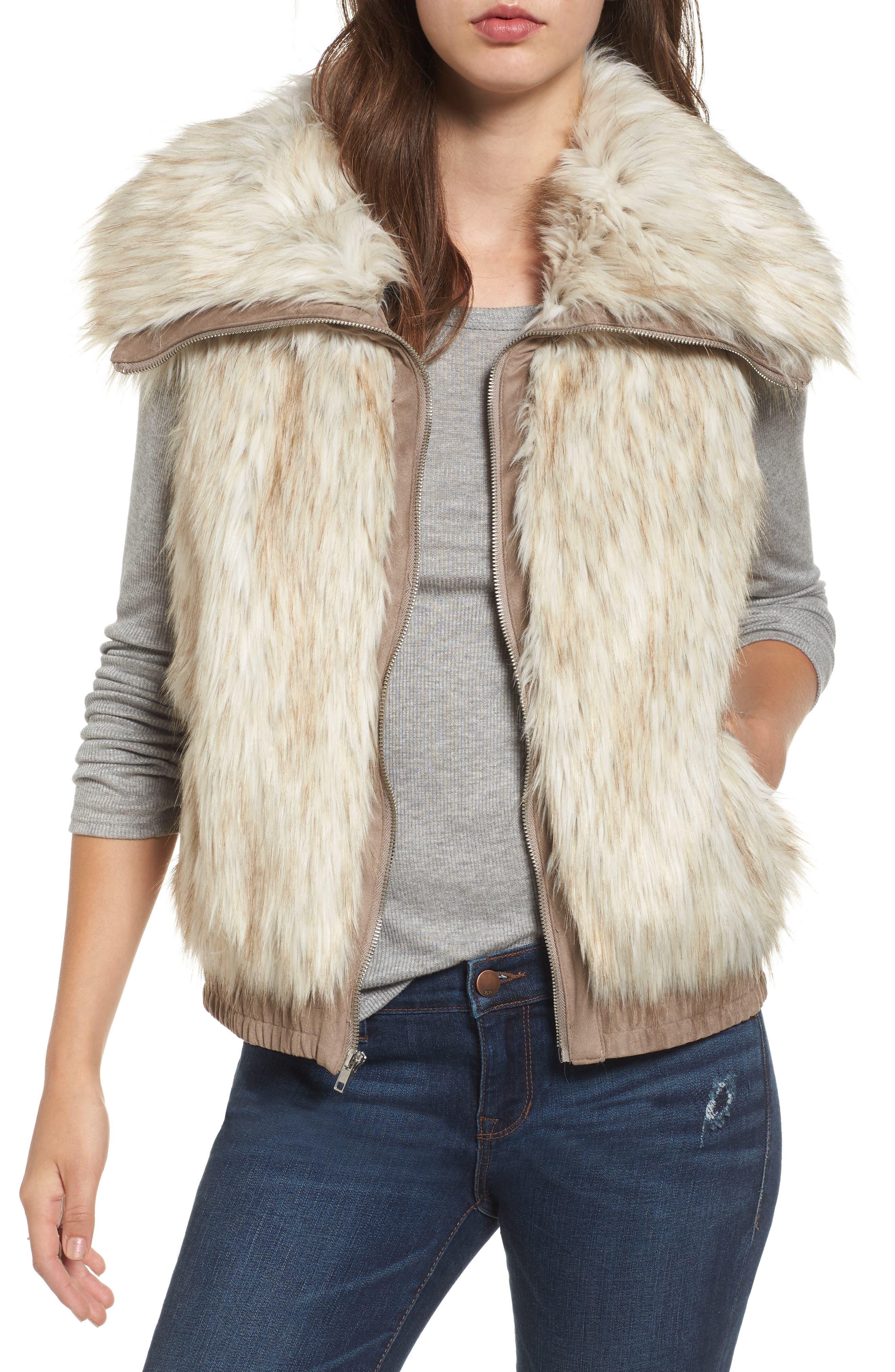 Collared Faux Fur Vest,                             Main thumbnail 1, color,                             161