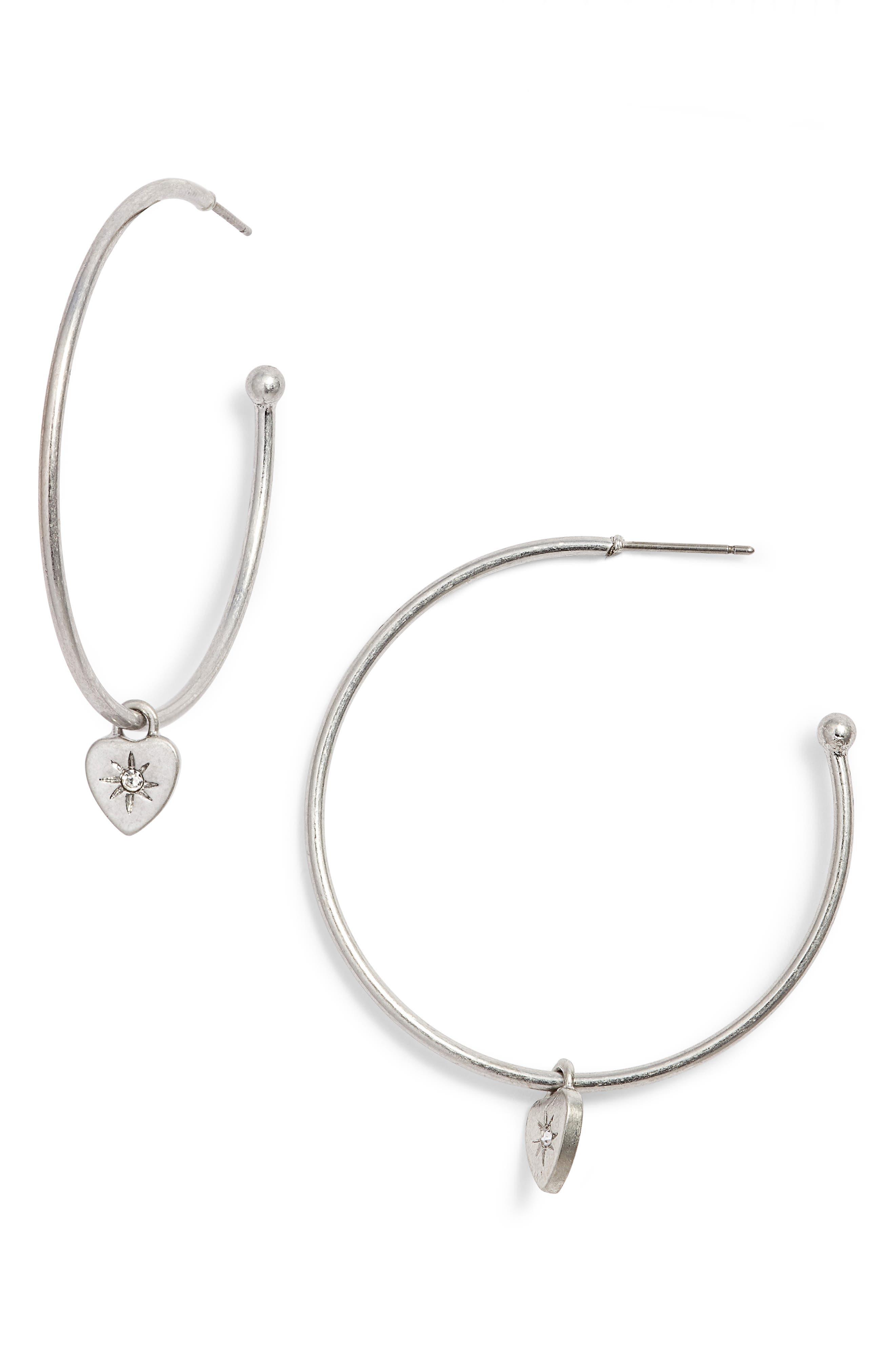 Heart Charm Hoop Earrings,                             Main thumbnail 1, color,                             040