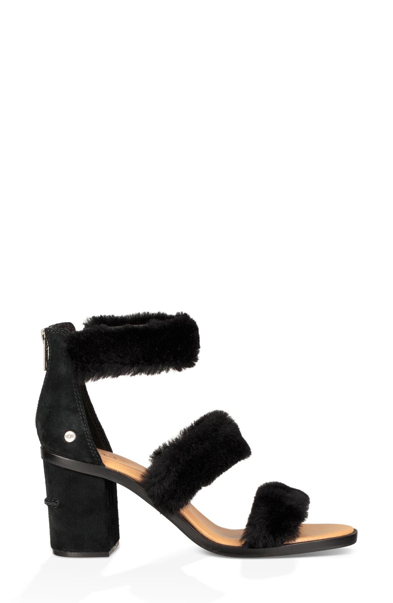 Dey Rey Genuine Shearling Sandal,                             Alternate thumbnail 3, color,                             BLACK