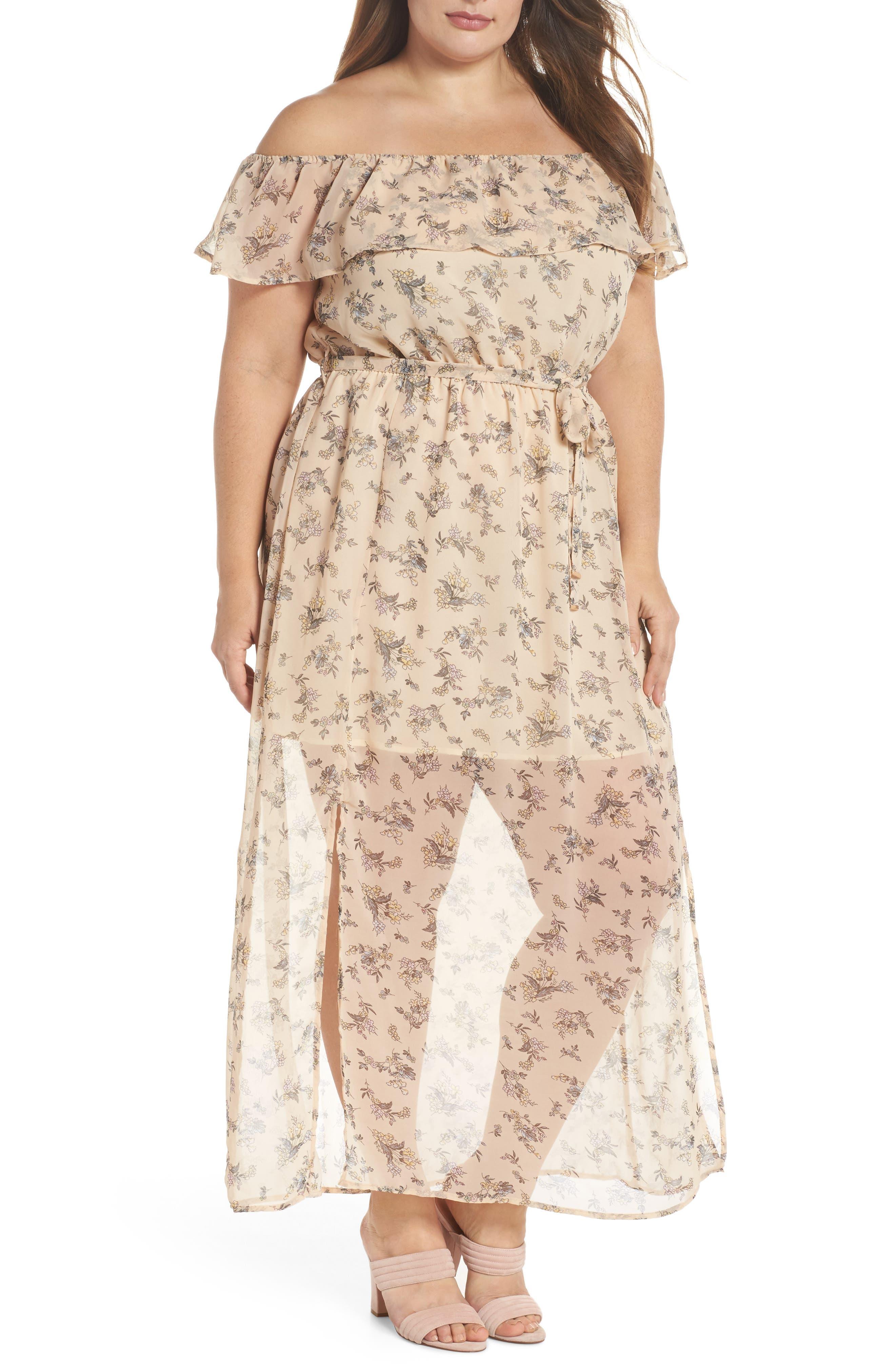 Print Off-the-Shoulder Maxi Dress,                         Main,                         color, 650