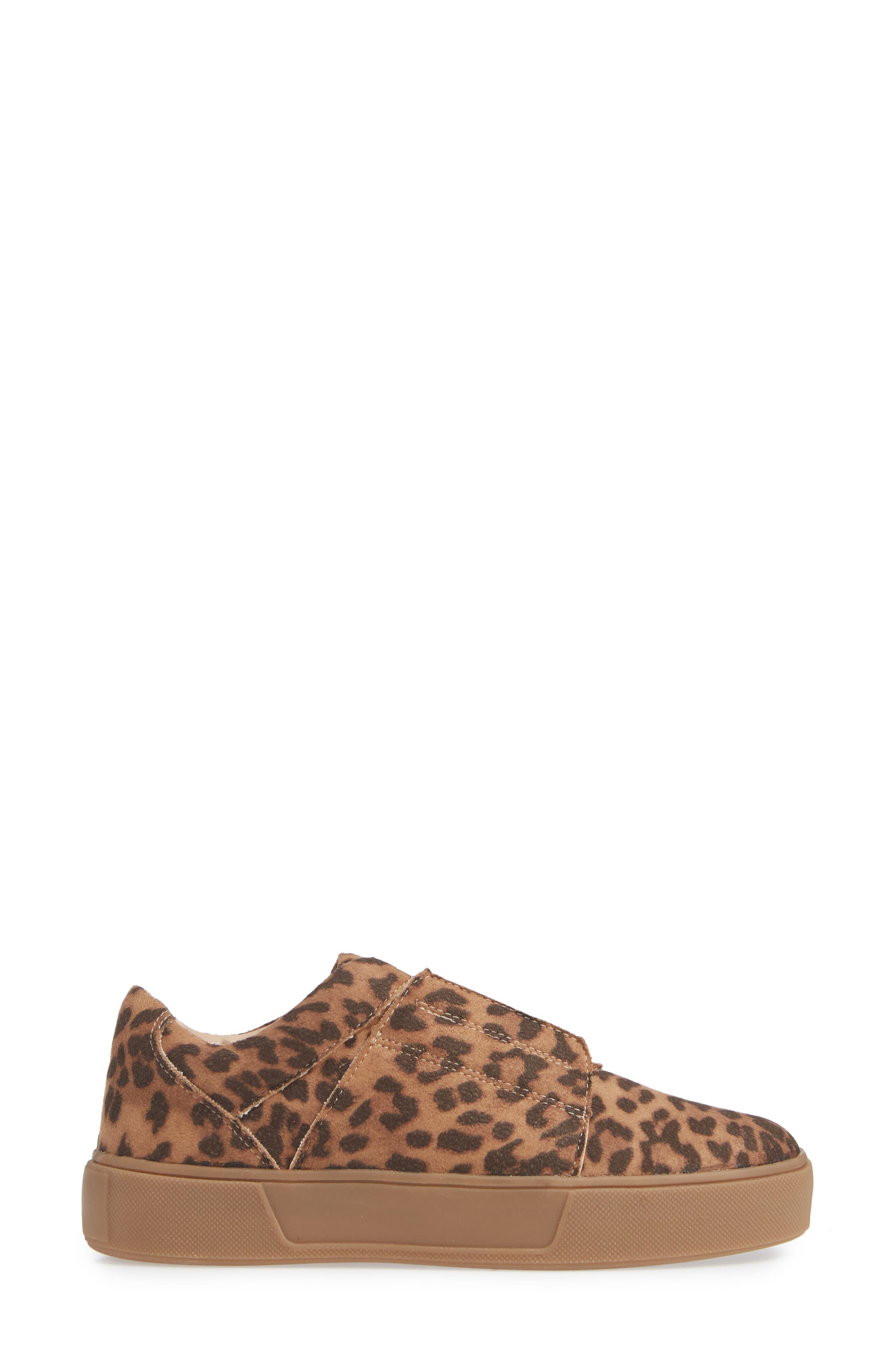 Tamera Slip-On Sneaker,                             Alternate thumbnail 3, color,                             TAN/ LEOPARD MULTI - FABRIC