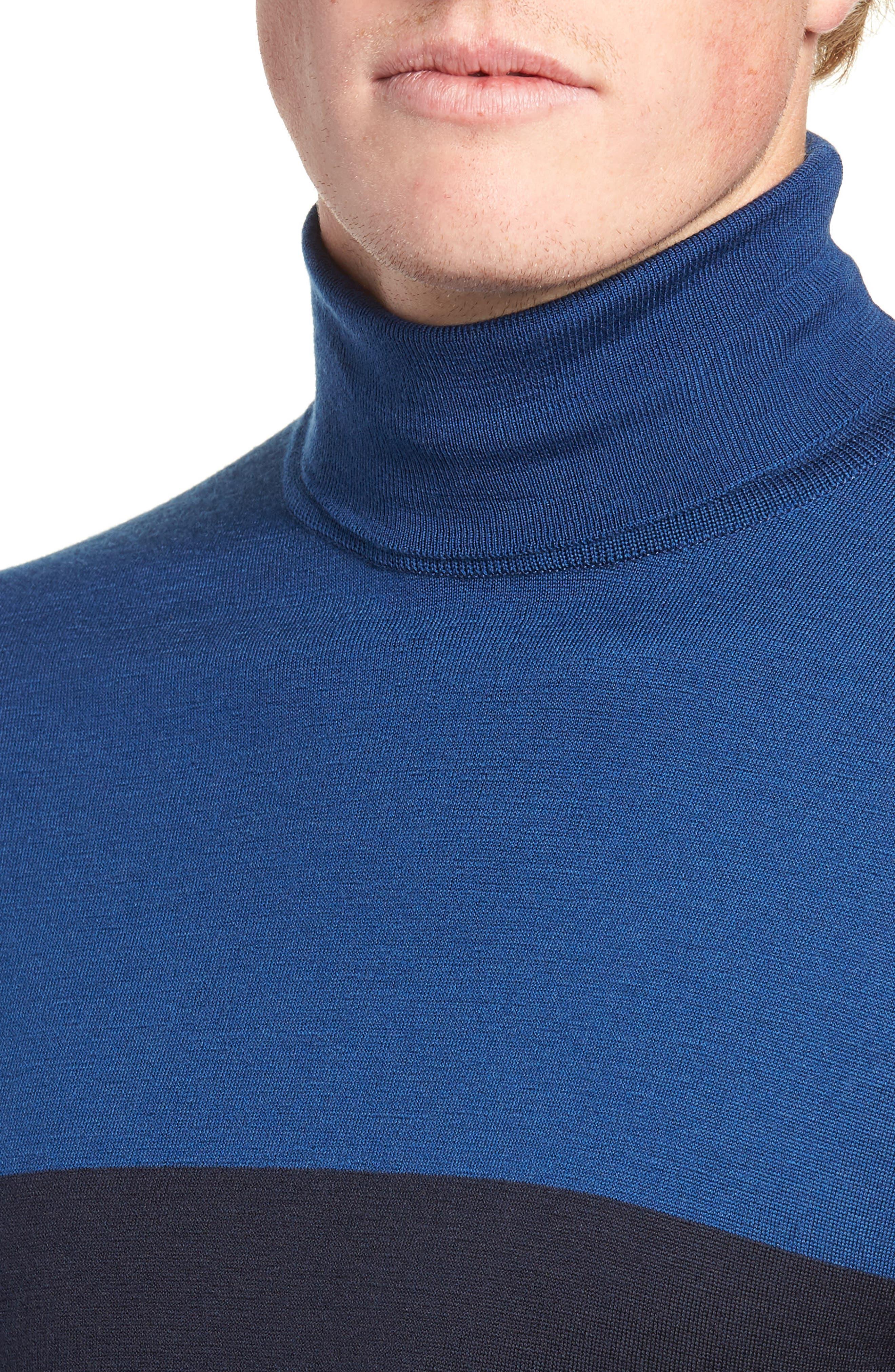Slim Fit Colorblock Merino Wool Turtleneck Sweater,                             Alternate thumbnail 4, color,                             MIDNIGHT