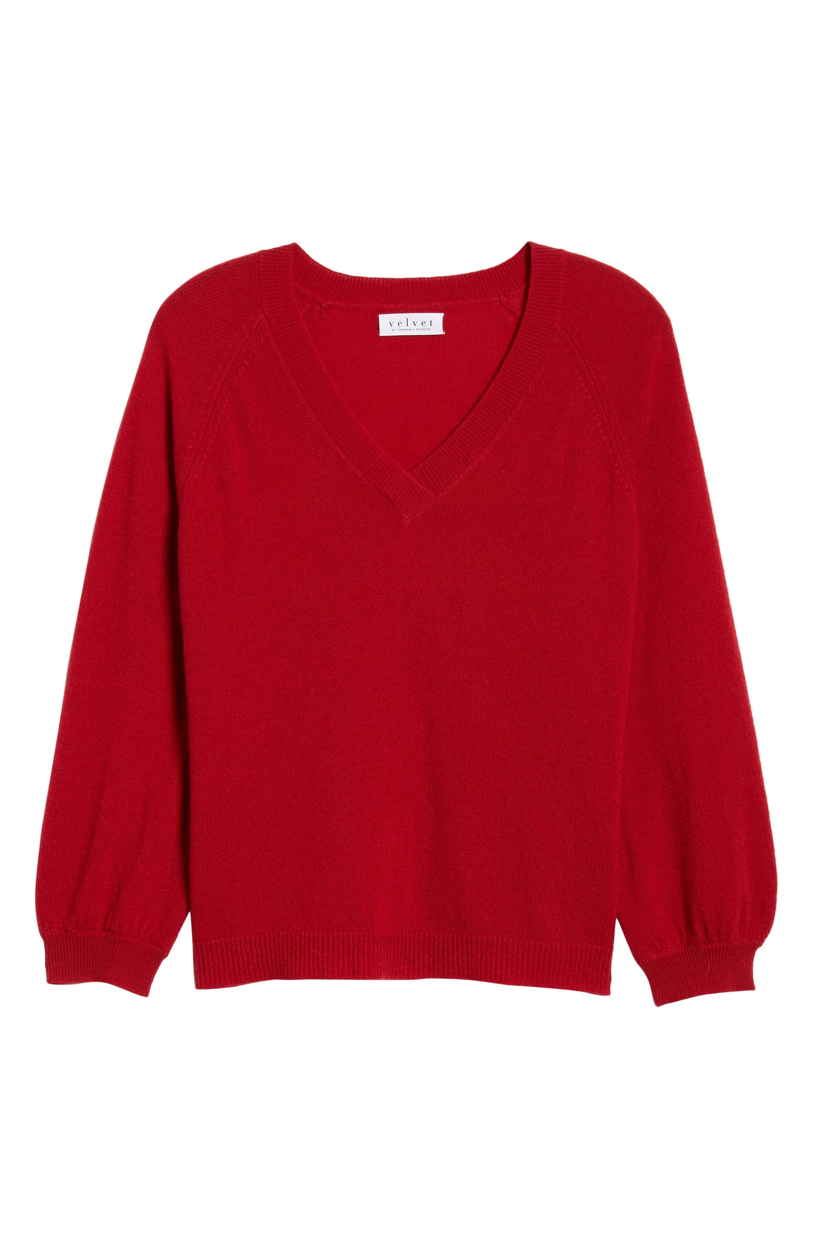 VELVET BY GRAHAM & SPENCER,                             Blouson Sleeve Cashmere Sweater,                             Alternate thumbnail 6, color,                             LIPSTICK
