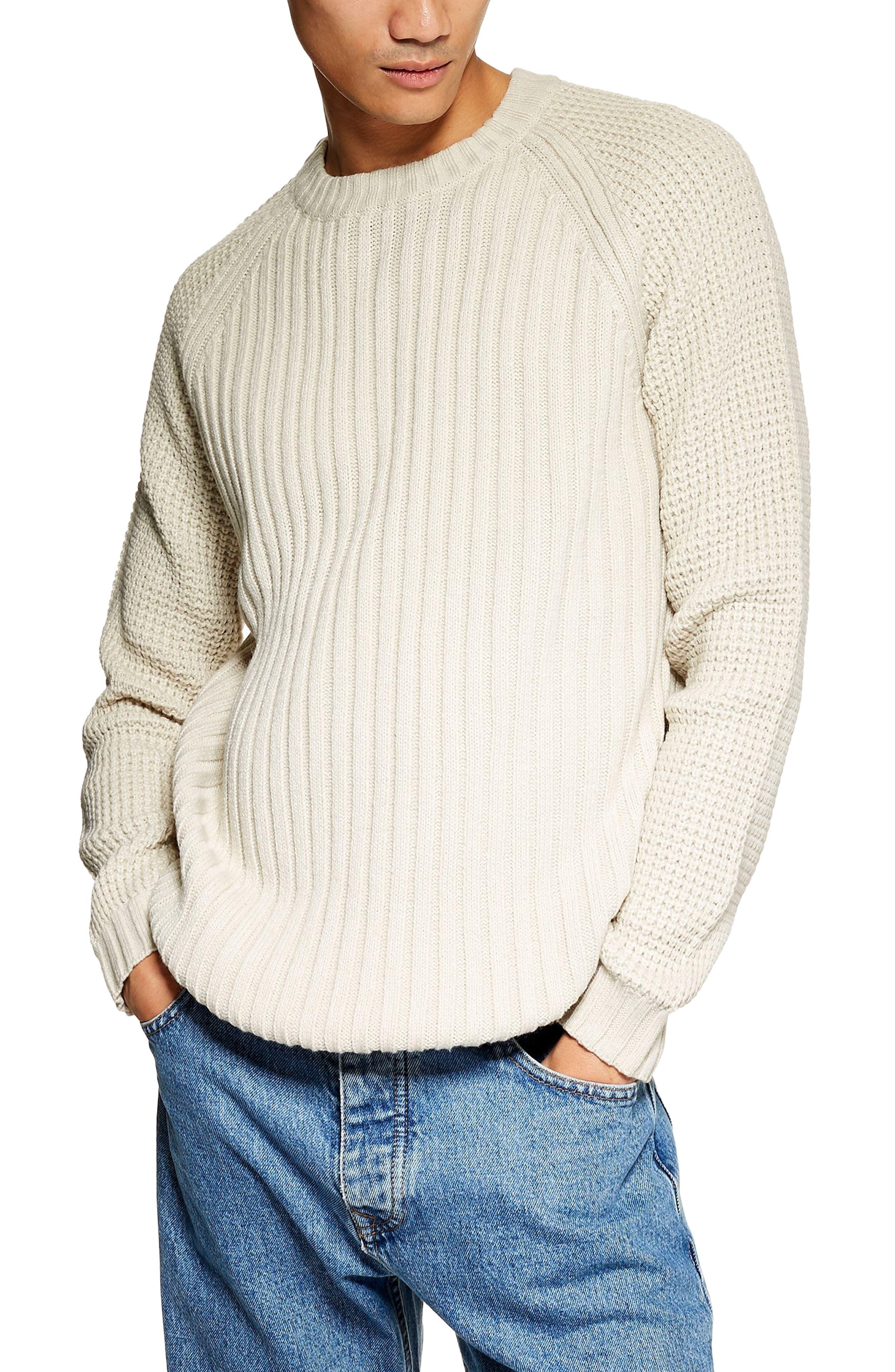 Mixed Stitch Classic Crewneck Sweater,                             Main thumbnail 1, color,                             STONE