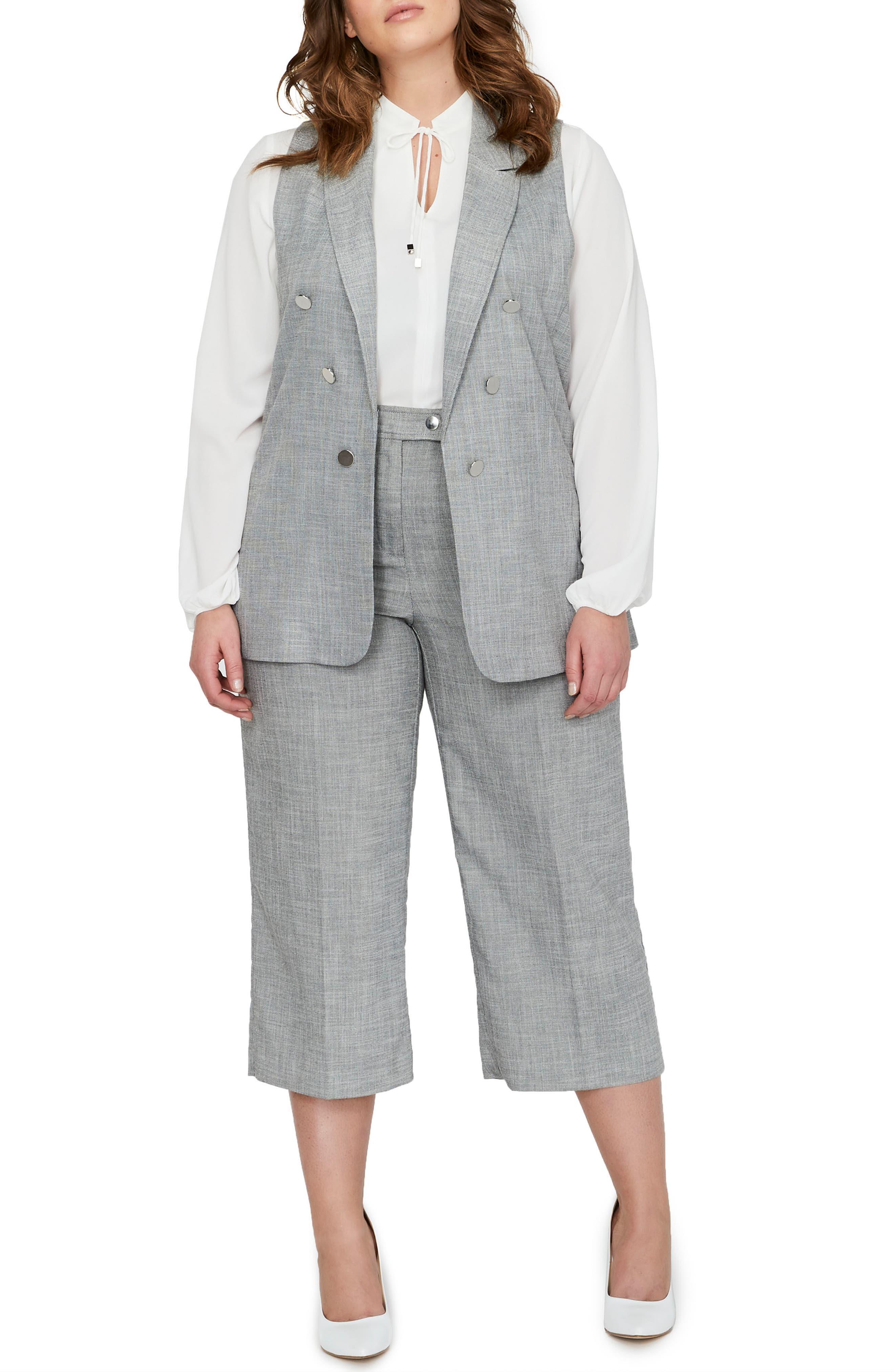 Peak Collar Vest,                             Alternate thumbnail 3, color,                             BLACK/ WHITE YARN DYE- SW