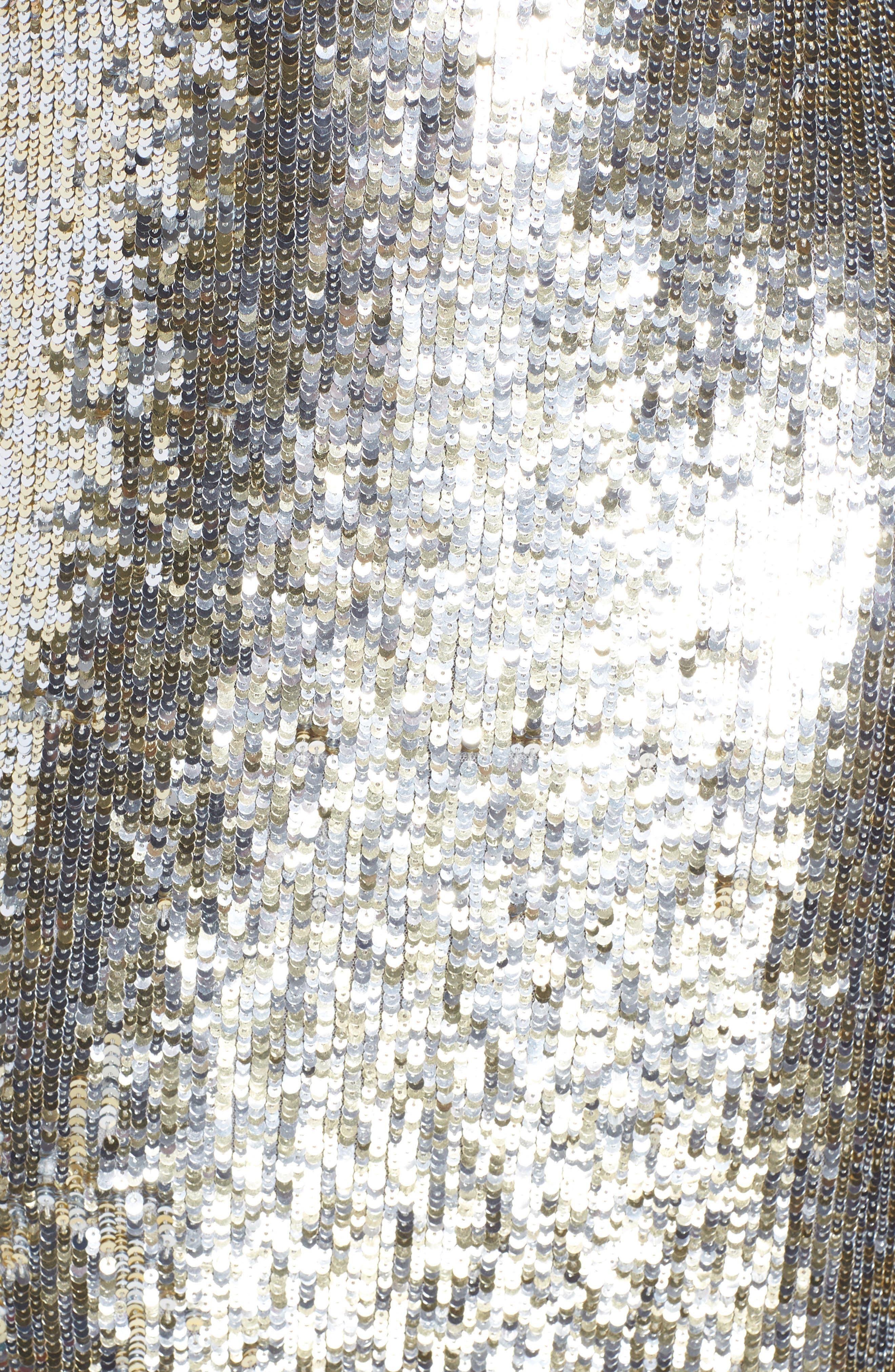 MAC DUGGAL,                             Sequin Stripe Evening Dress,                             Alternate thumbnail 6, color,                             PLATINUM