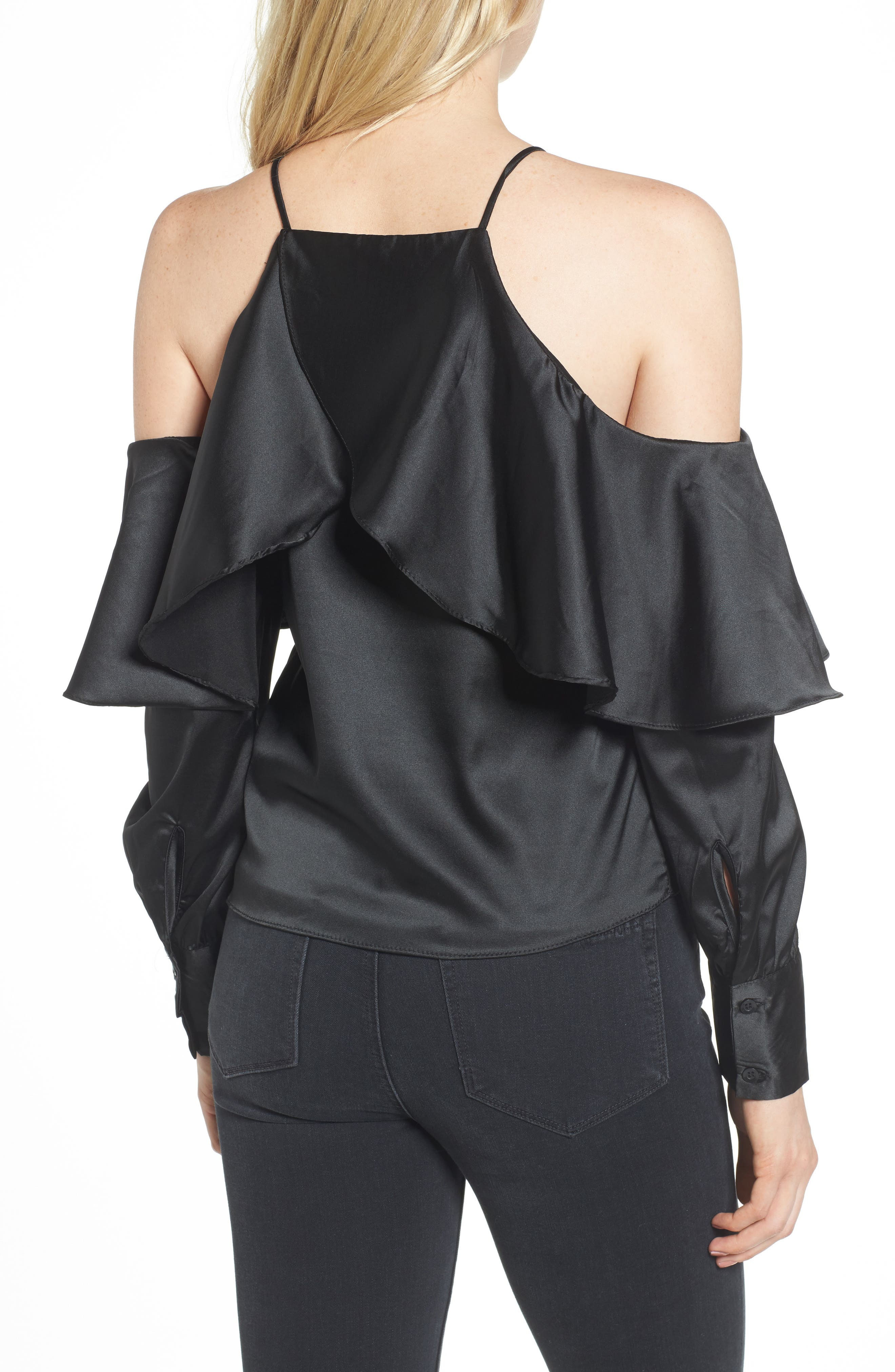 Bishop + Young Mia Cold Shoulder Blouse,                             Alternate thumbnail 2, color,                             001
