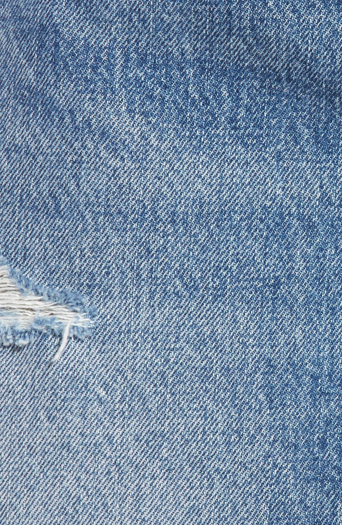 Distressed Denim Skirt,                             Alternate thumbnail 5, color,